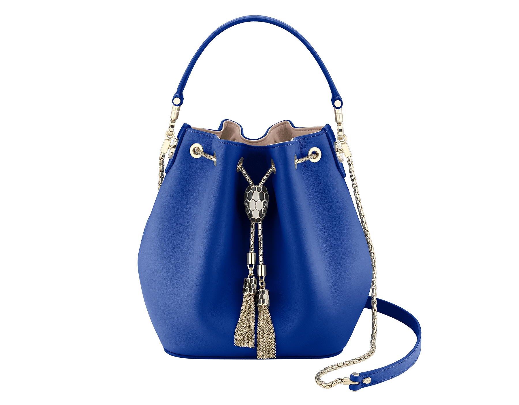 Bucket Serpenti Forever in cobalt tourmaline smooth calf leather and crystal rose nappa internal lining. Hardware in light gold plated brass and snakehead closure in black and white enamel, with eyes in black onyx. 287804 image 1