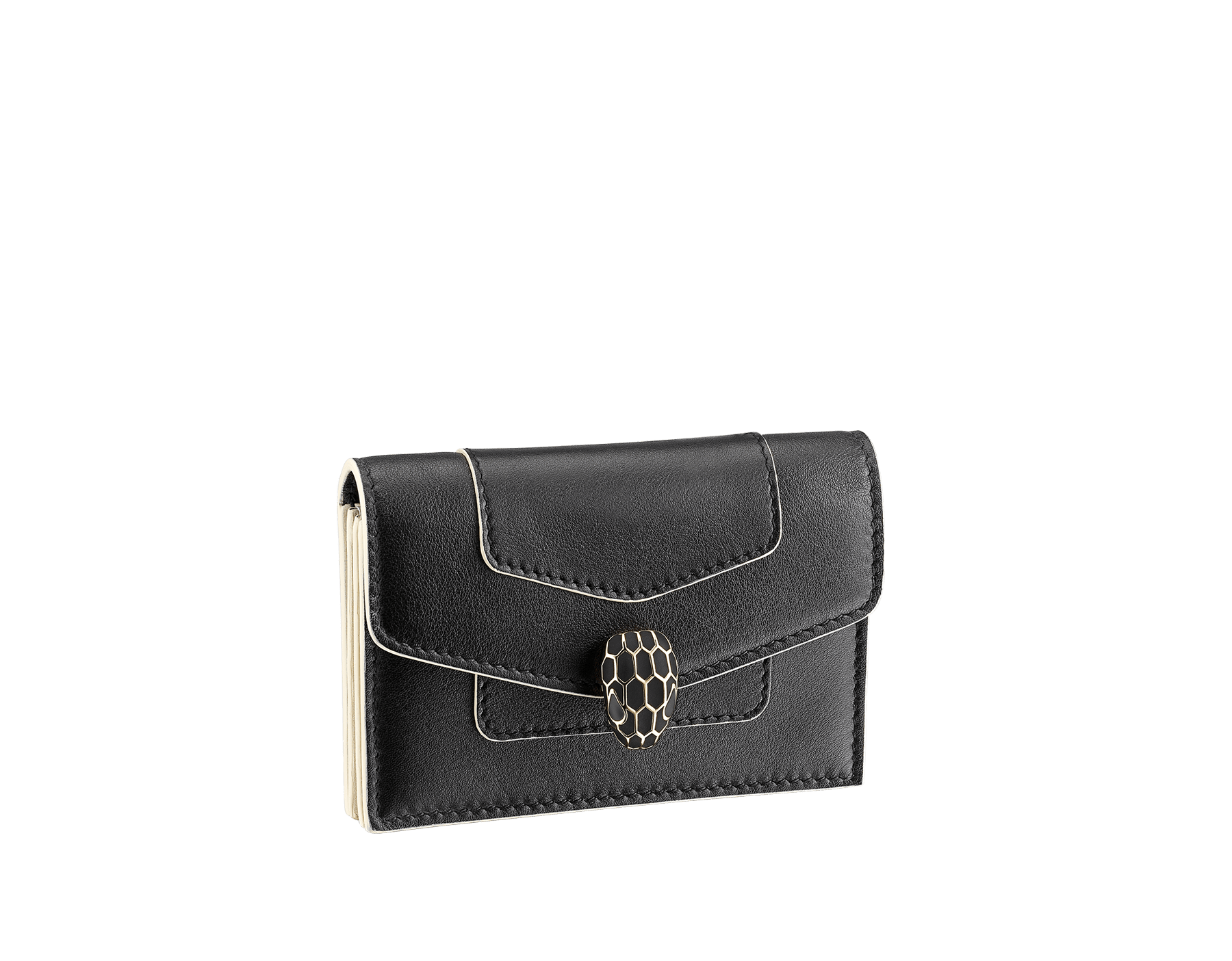 """""""Serpenti Forever"""" gusseted card holder in black calf leather. Tempting light gold-plated brass snakehead stud closure, finished with matte black enamel, and black enamel eyes. SEA-CCACCORDEON image 1"""