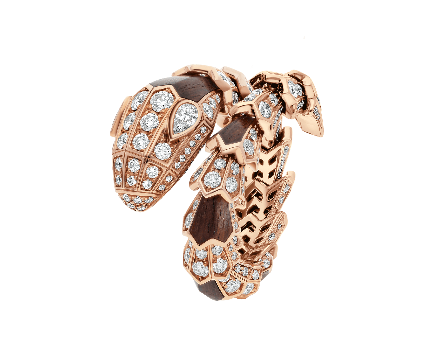 Serpenti ring in 18 kt rose gold, set with wood elements and pavé diamonds. AN857756 image 1