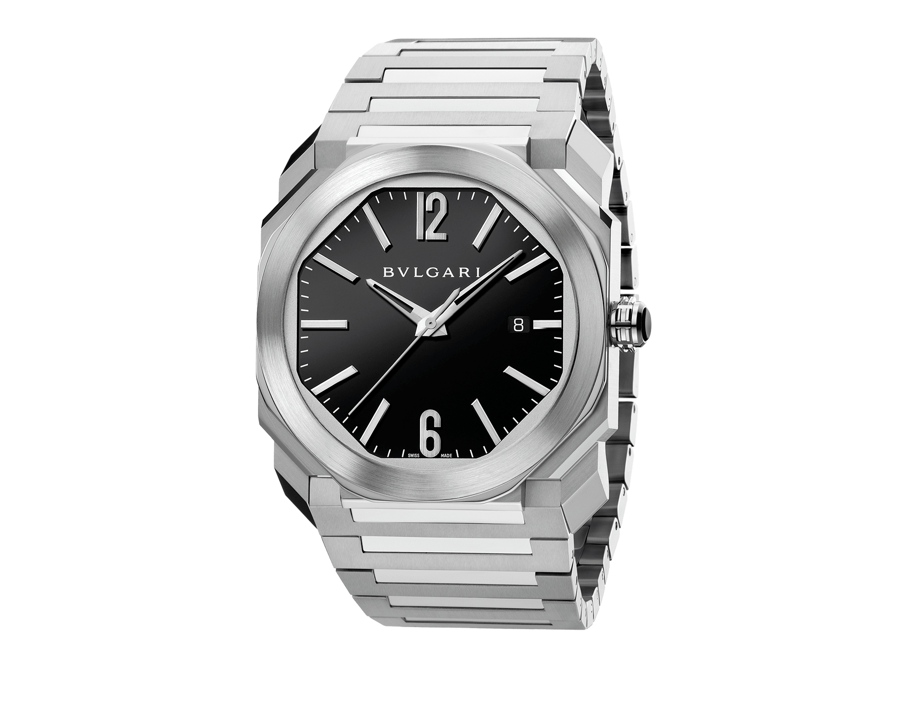 Octo watch with mechanical manufacture movement, automatic winding and date, stainless steel case and bracelet, black lacquered dial. 102031 image 1