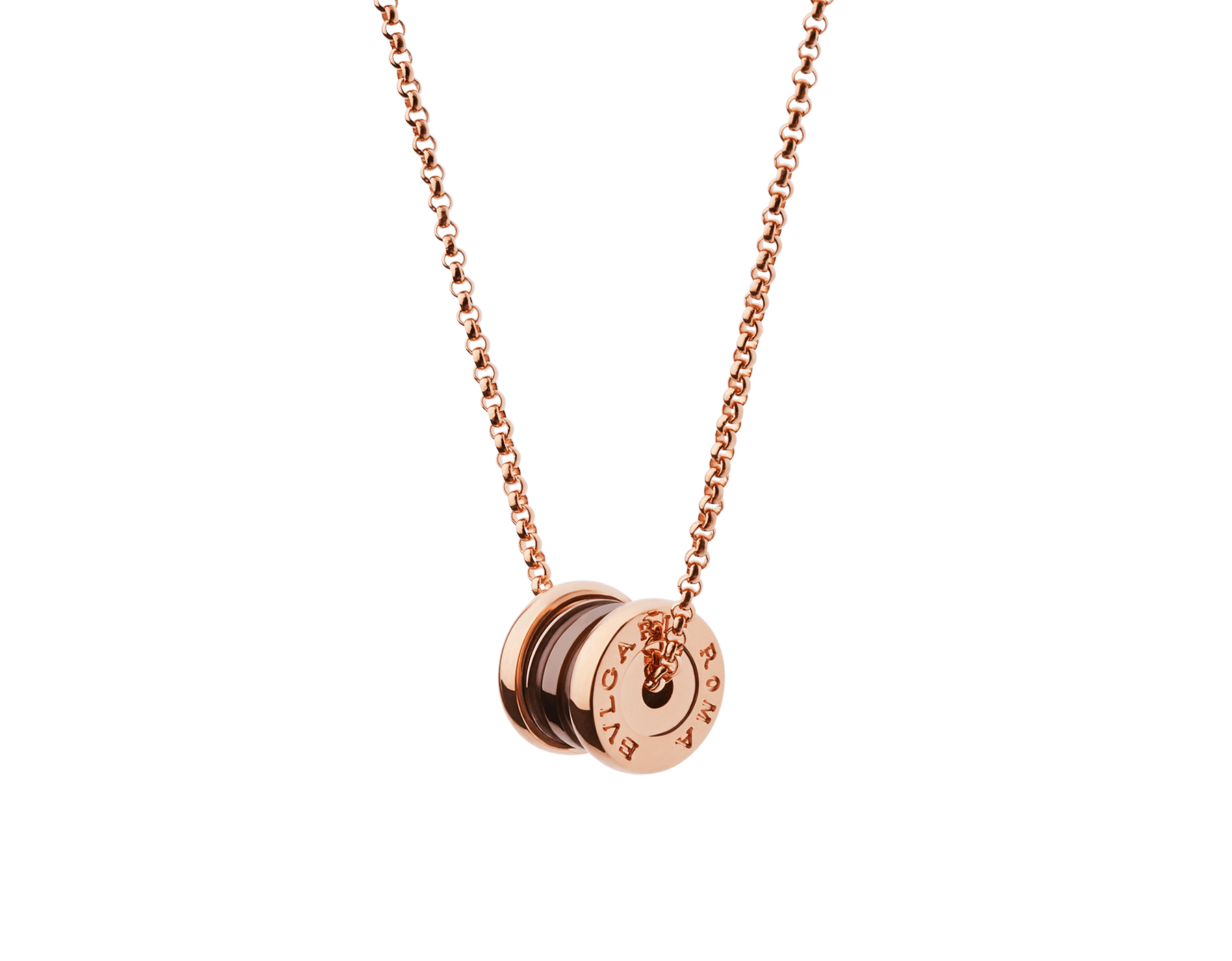 B.zero1 necklace with 18 kt rose gold chain and pendant in 18 kt rose gold and cermet. 358379 image 2