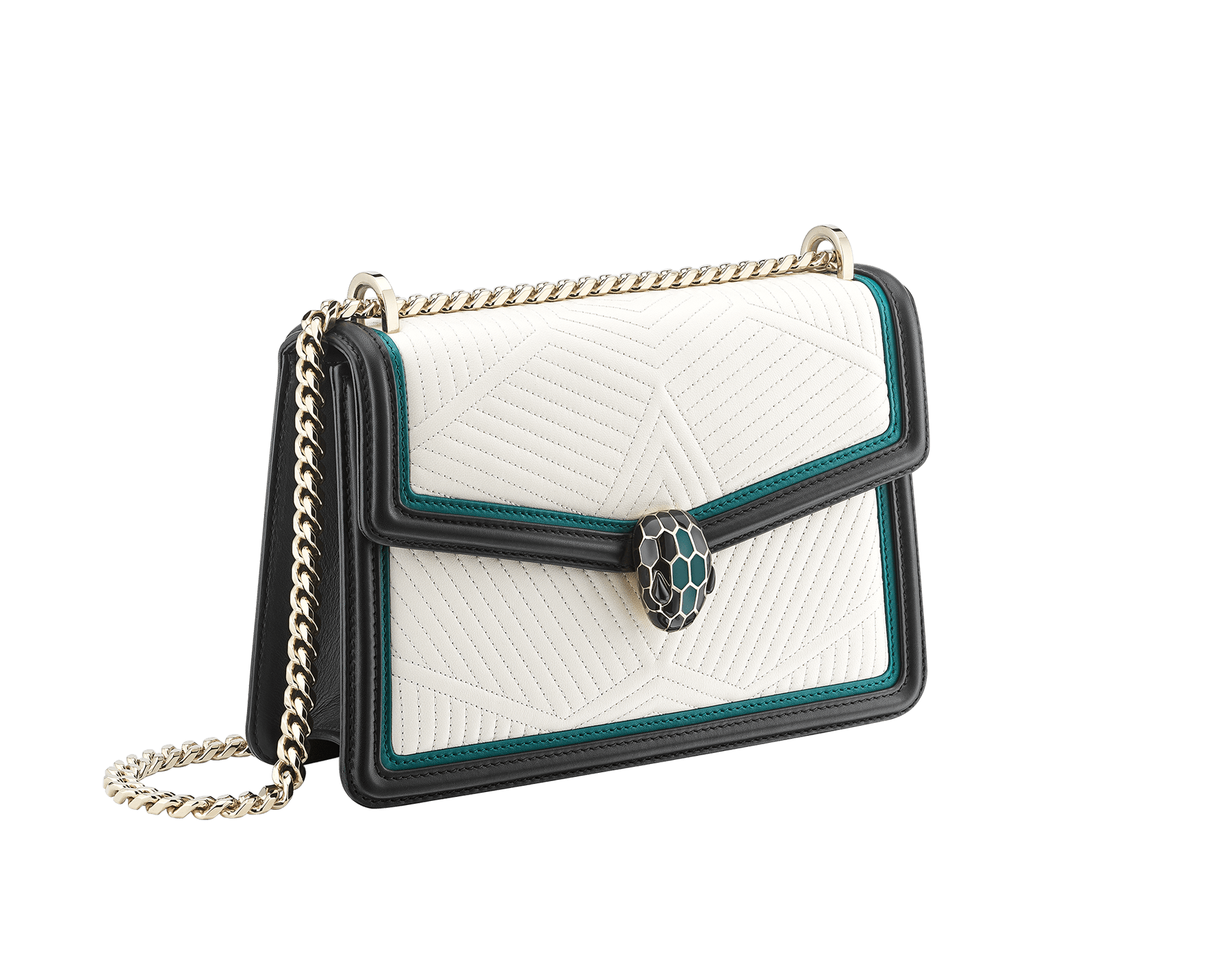 Serpenti Diamond Blast shoulder bag in white agate quilted nappa leather body and deep jade and black calf leather frames. Snakehead closure in light gold plated brass decorated with deep jade and black enamel, and black onyx eyes. 287970 image 2