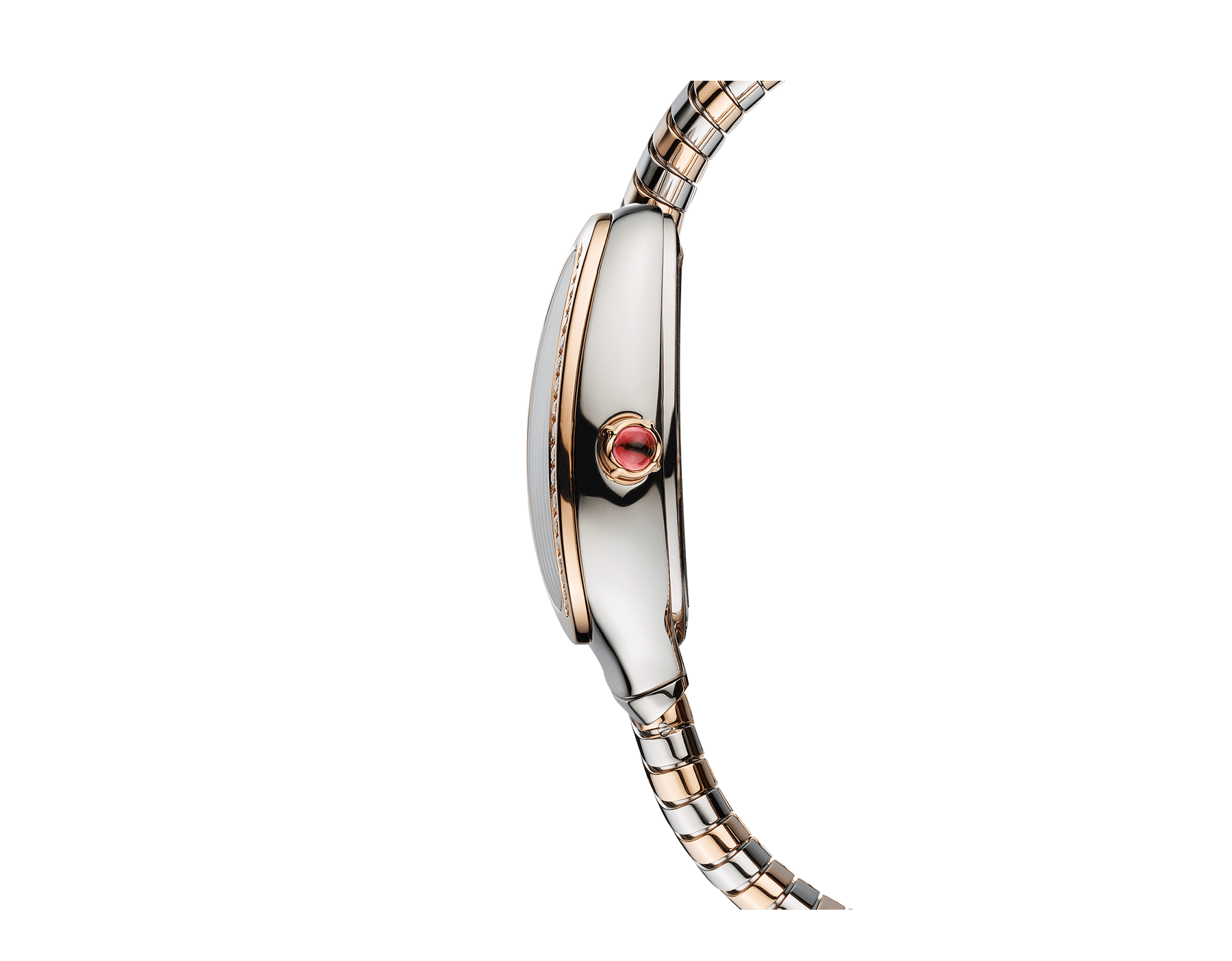 Serpenti Tubogas single spiral watch with stainless steel case, 18 kt rose gold bezel set with brilliant-cut diamonds, brown dial with guilloché soleil treatment, stainless steel and 18 kt rose gold bracelet 103071 image 3