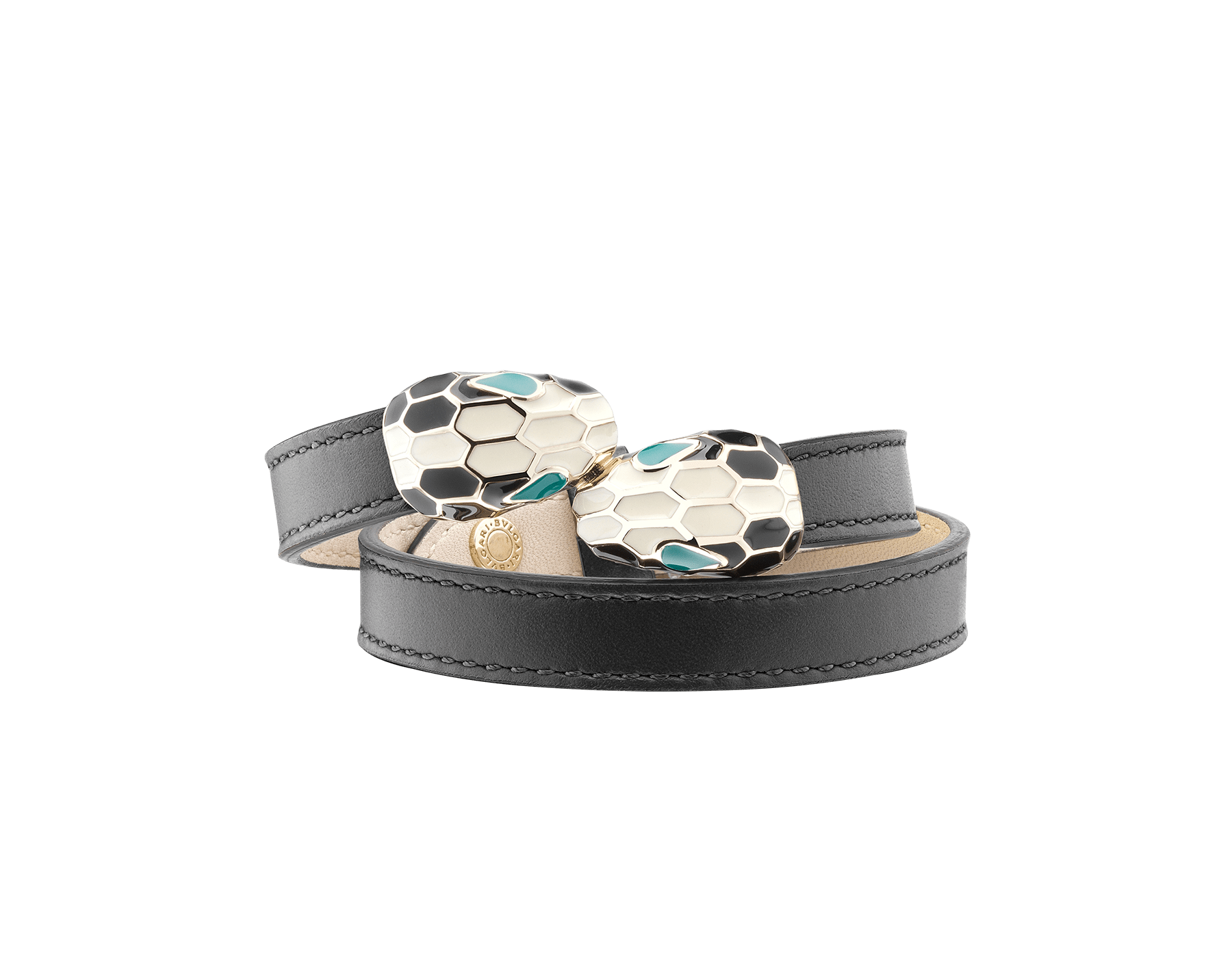 Multi-coiled bracelet in black calf leather. Brass light gold plated iconic contraire Serpenti head closure in black and white enamel with malachite enamel eyes. MCSerp-CL-B image 1