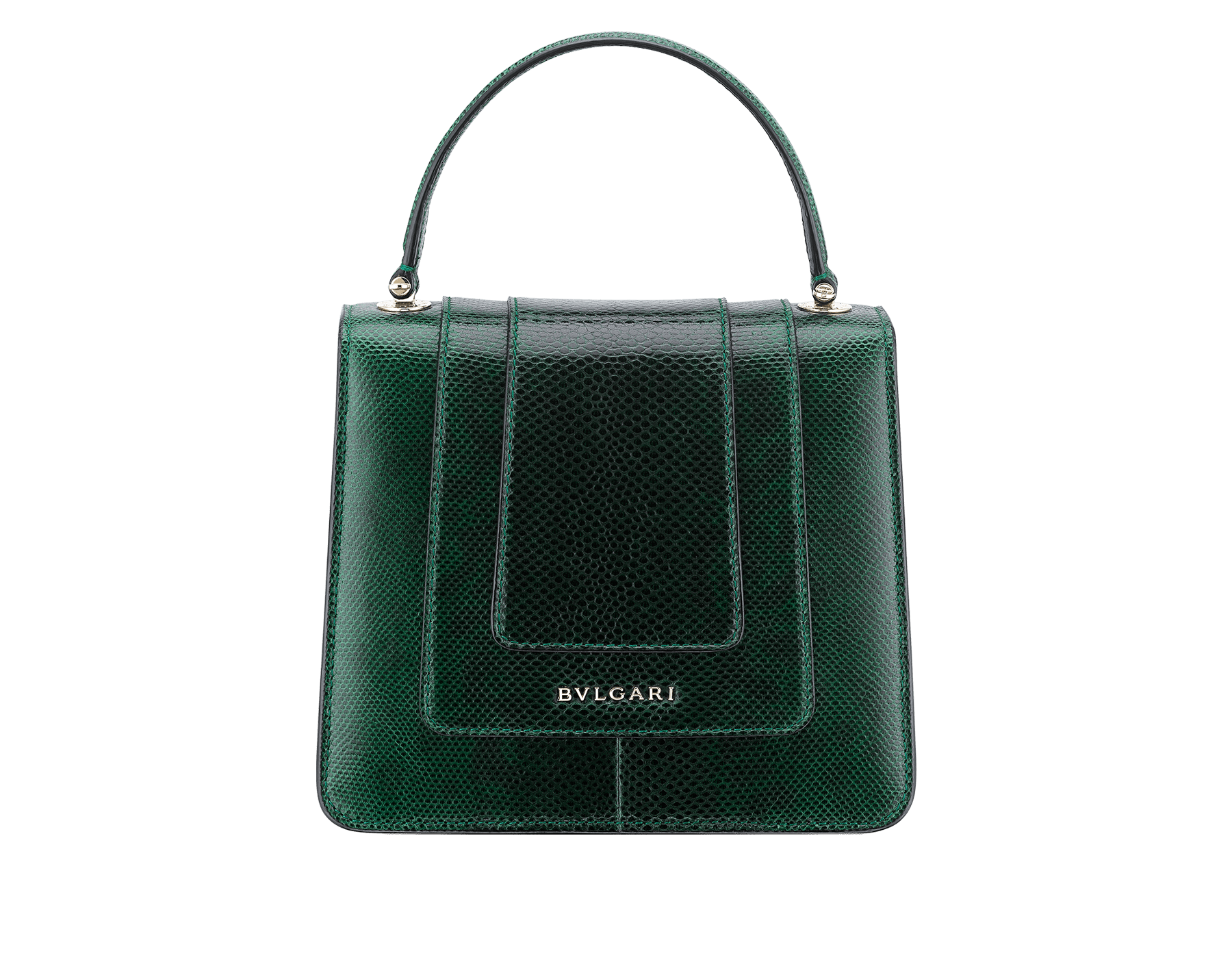 Flap cover bag Serpenti Forever in forest emerald shiny karung skin. Brass light gold plated hardware and snake head closure in black and white enamel with eyes in green malachite. 283517 image 3