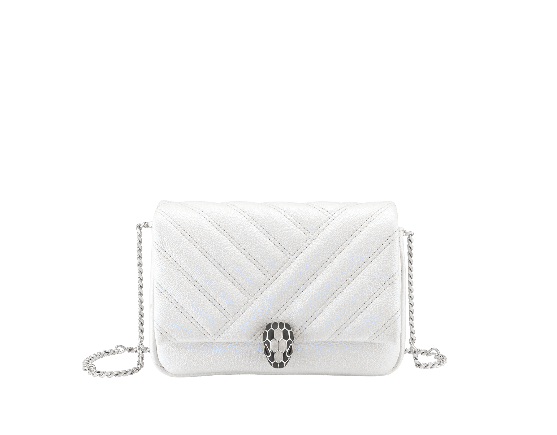 """Serpenti Cabochon"" micro bag in soft matelassé white agate goatskin with a pearled and iridescent effect, with a graphic motif. Brass palladium plated tempting snakehead closure in matte black and shiny white agate enamel and black onyx eyes. 1023-PSL image 1"