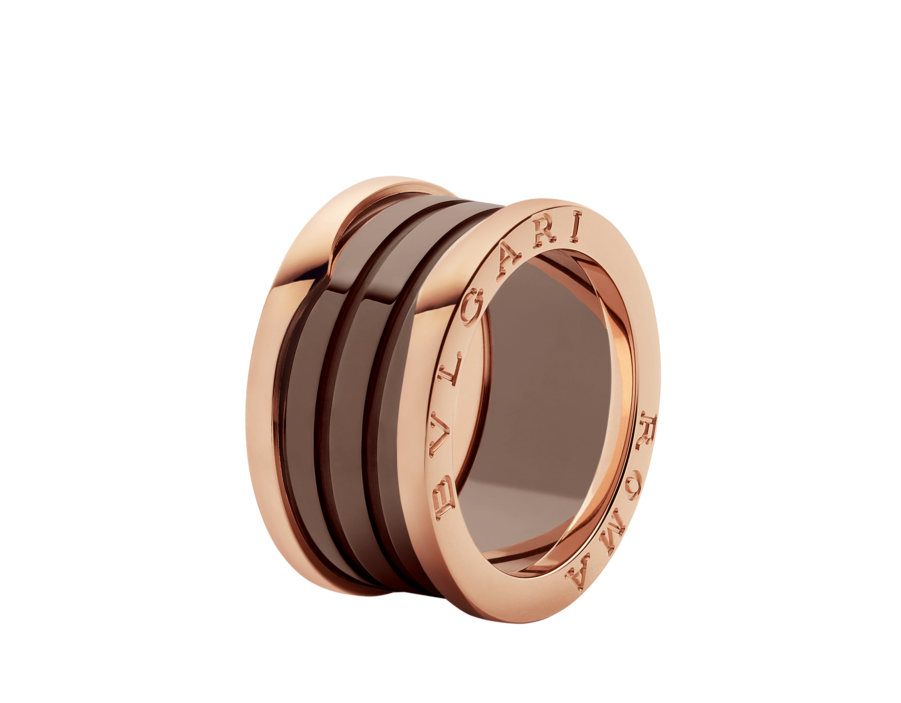 B.zero1 ROMA four-band ring with 18 kt rose gold loops and bronze ceramic spiral. B-zero1-4-bands-AN856887 image 1