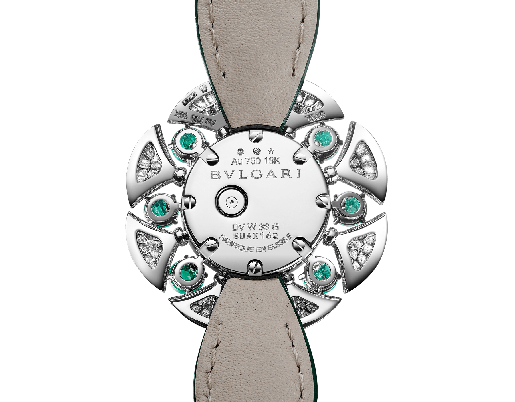 DIVAS' DREAM Divissima High Jewellery watch with 18 kt white gold case and mobile petals set with 8 brilliant-cut emeralds and round brilliant-cut diamonds, mother-of-pearl dial, and green alligator bracelet. Water-resistant up to 30 metres 103505 image 3