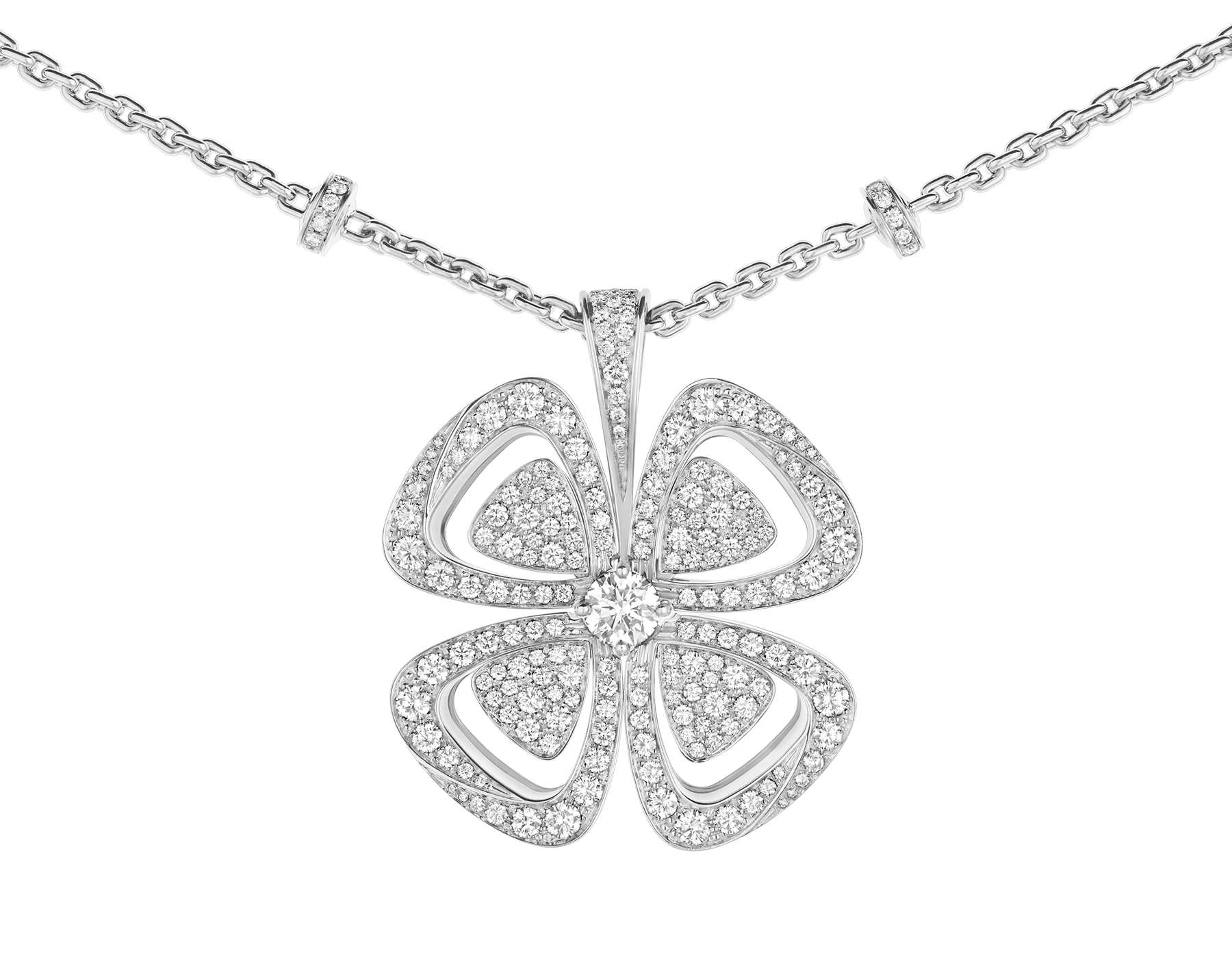 Fiorever 18 kt white gold necklace set with a central round brilliant-cut diamond (0.70 ct) and pavé diamonds (4.63 ct) 357219 image 3