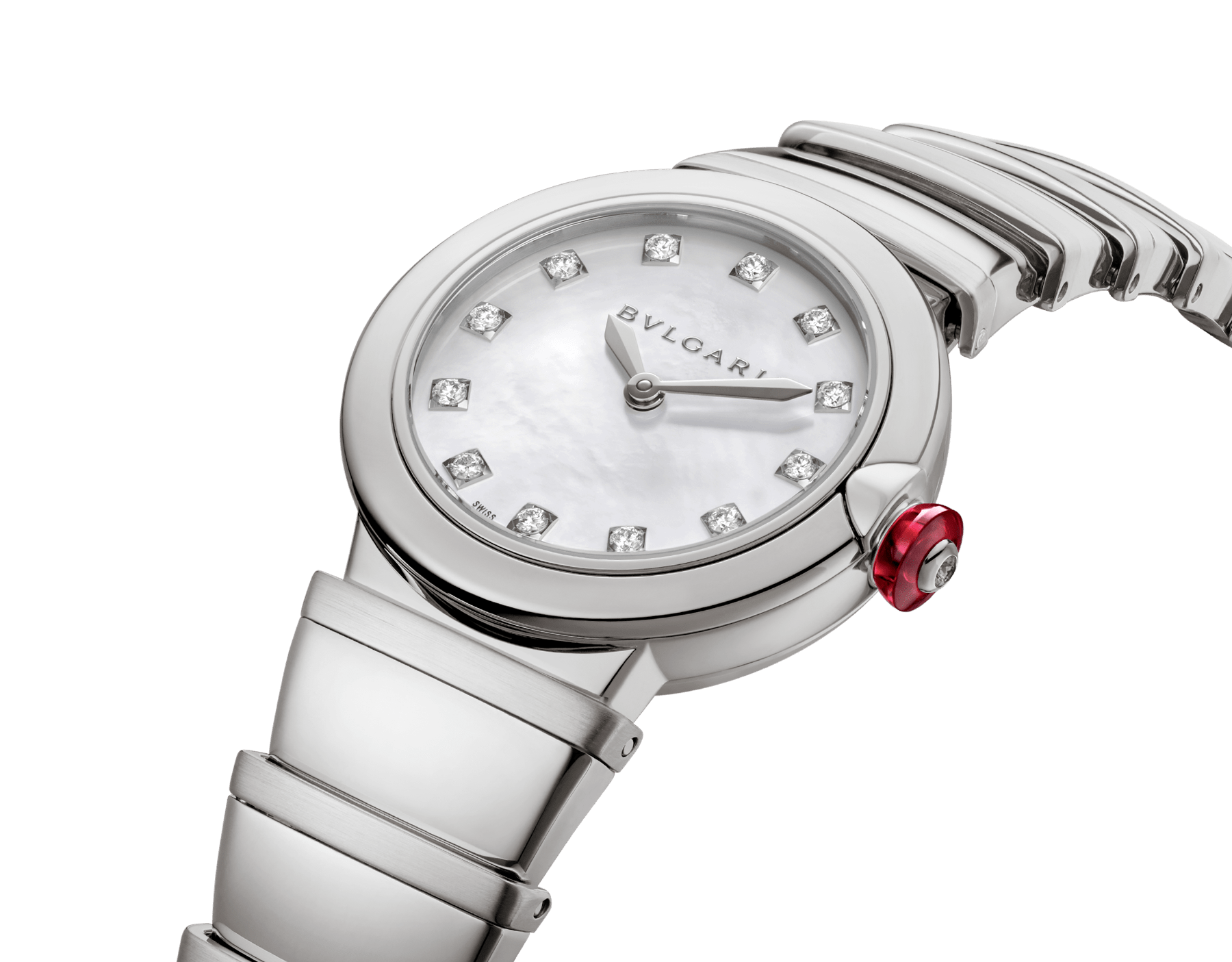 LVCEA watch in stainless steel case and bracelet, white mother-of-pearl dial and diamond indexes. 102196 image 2