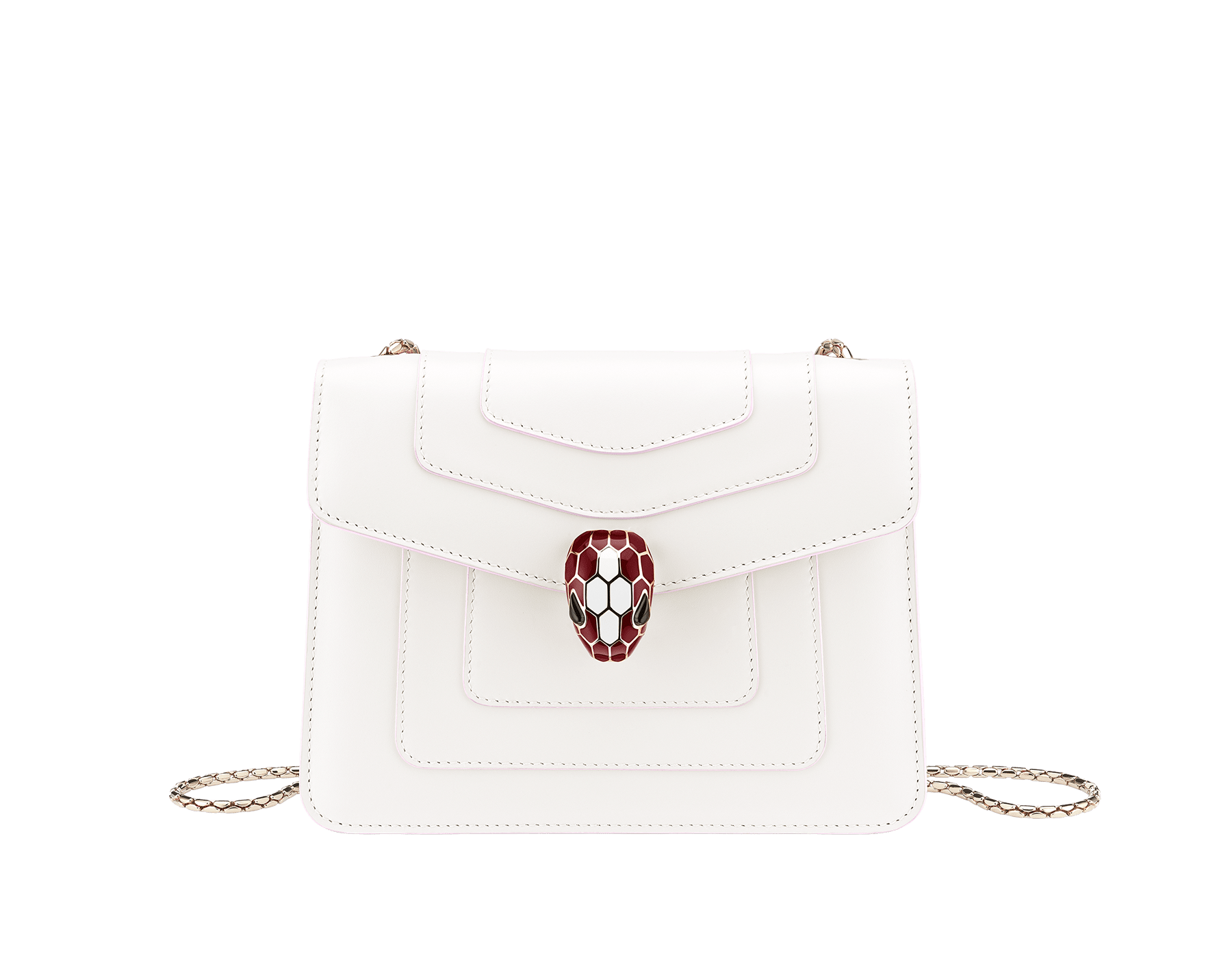 """Serpenti Forever"" crossbody bag in white agate calf leather body and ruby red calf leather sides. Iconic snakehead closure in light gold plated brass enriched with ruby red and white agate enamel and black onyx eyes. 289198 image 1"