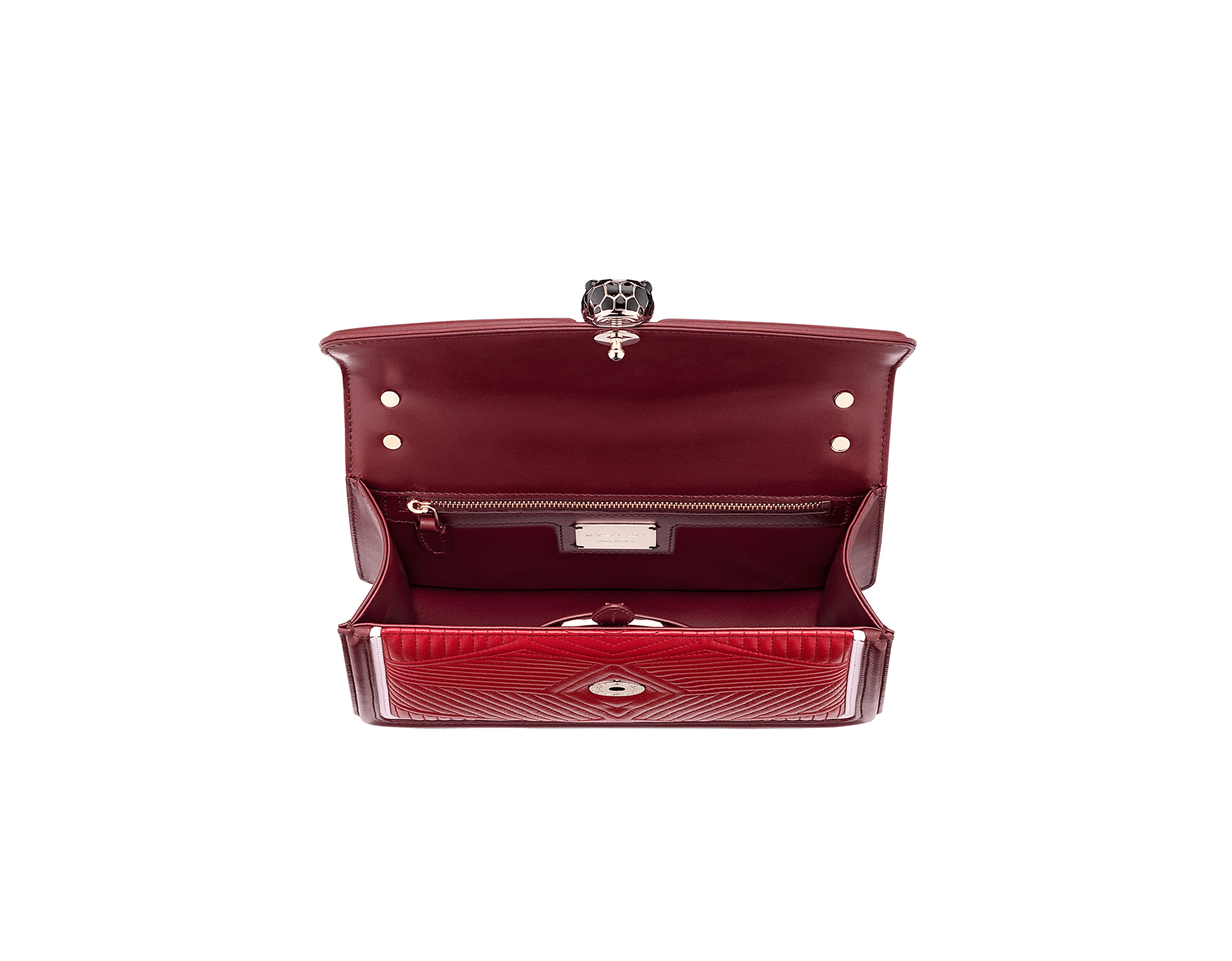 """Serpenti Diamond Blast"" shoulder bag in ruby red quilted calf leather and Roman garnet calf leather frames. Iconic snakehead closure in light gold plated brass enriched with black and rosa di francia enamel and black onyx eyes. 289463 image 4"