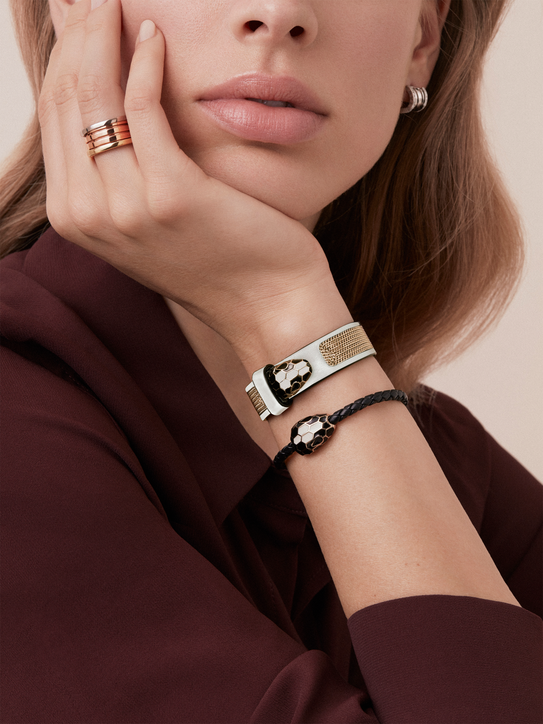 Serpenti Forever multi-coiled bracelet in mint calf leather, with light gold plated brass hardware. Iconic contraire snakehead décor in black and white agate enamel, with emerald green enamel eyes. BRACLT-MC-SERP-GIFTBOX image 2