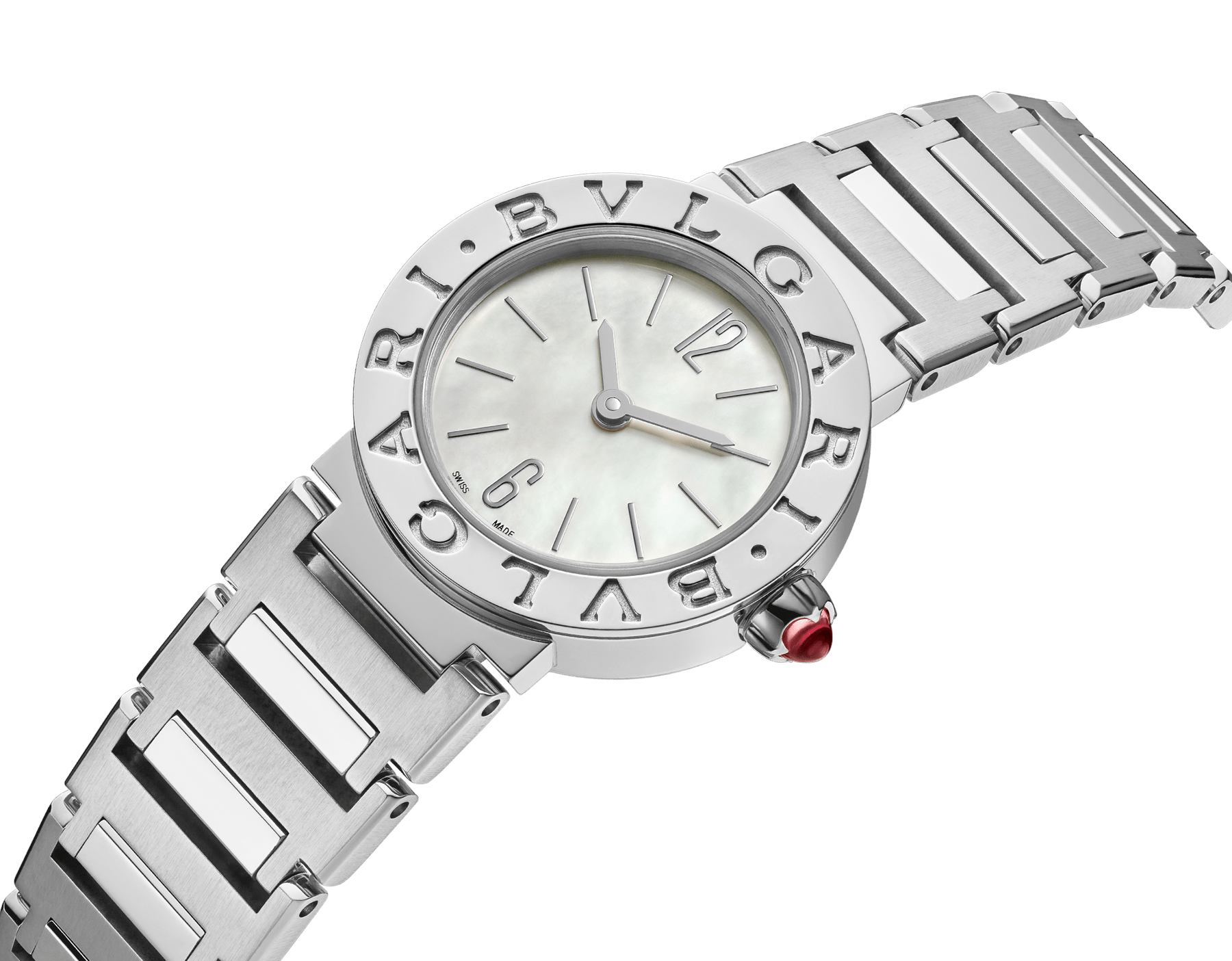 BVLGARI BVLGARI watch in stainless steel case and bracelet, stainless steel bezel engraved with double logo and mother-of-pearl dial 103217 image 2