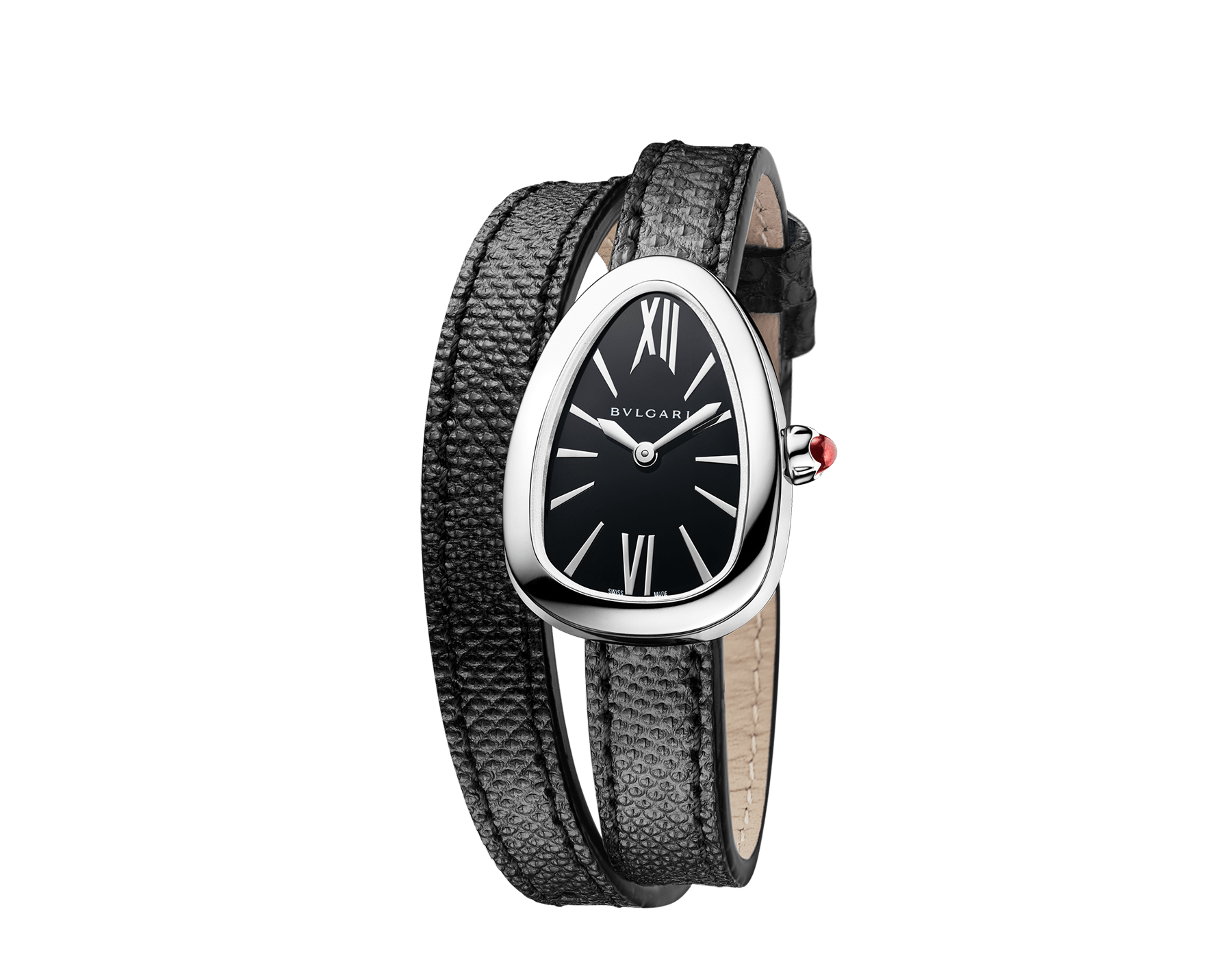 Serpenti watch with stainless steel case, black lacquered dial and interchangeable double spiral bracelet in black karung leather. 102782 image 2
