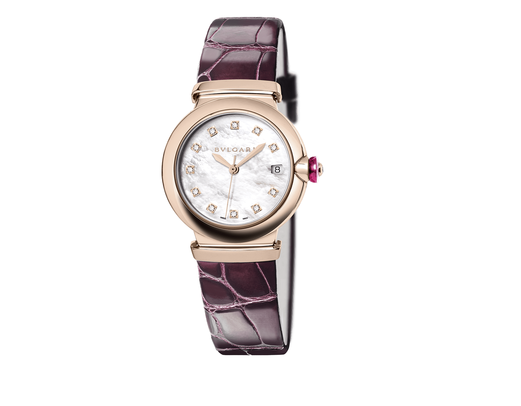 LVCEA watch with 18 kt rose gold case, white mother-of-pearl dial, diamond indexes and purple alligator bracelet. 102573 image 1