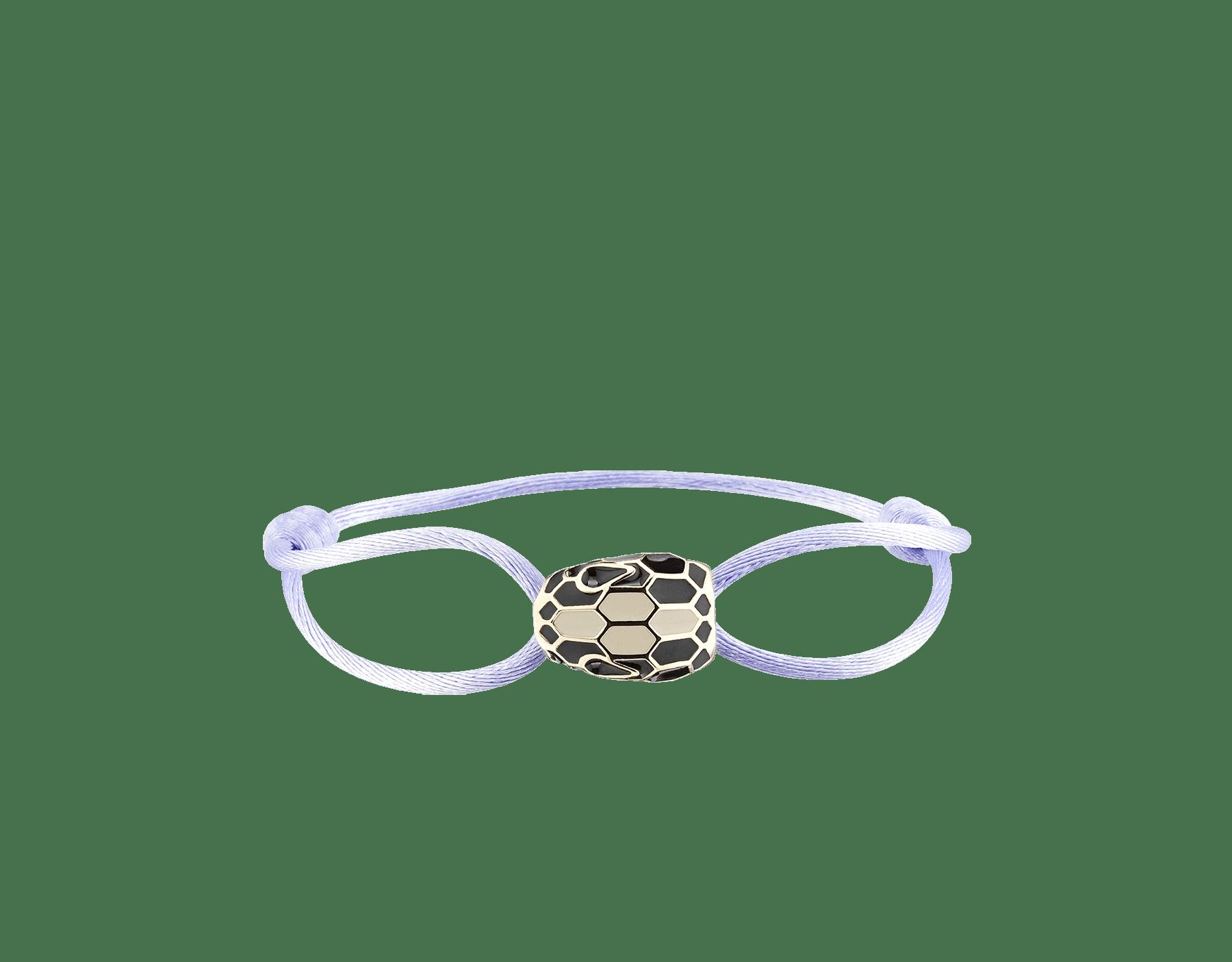 Serpenti Forever Armband aus Seide in Fire Amber mit ikonischem Schlangenkopf aus Emaille in Fire Amber und Schwarz sowie mit verführerischen Augen aus schwarzer Emaille. SERP-STRINGa image 1
