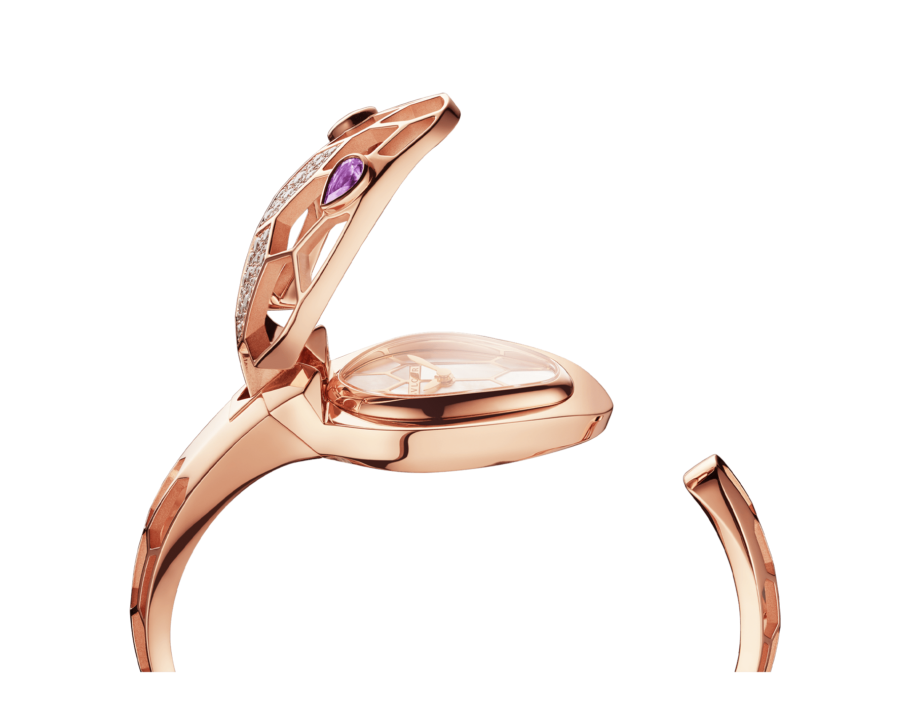 Serpenti Misteriosi Secret Watch with 18 kt rose gold skeletonized case set with round brilliant-cut diamonds, white mother-of-pearl dial, 18 kt rose gold skeletonized bangle bracelet and pear-shaped amethyst eyes. SrpntMister-SecretWtc-rose-gold image 9