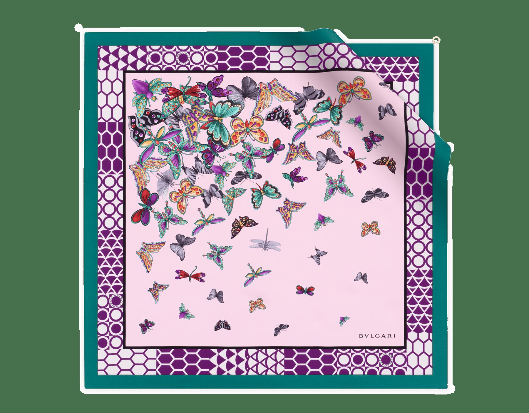 Rosa di Francia B Fly scarf in fine silk twill. 243922 image 1