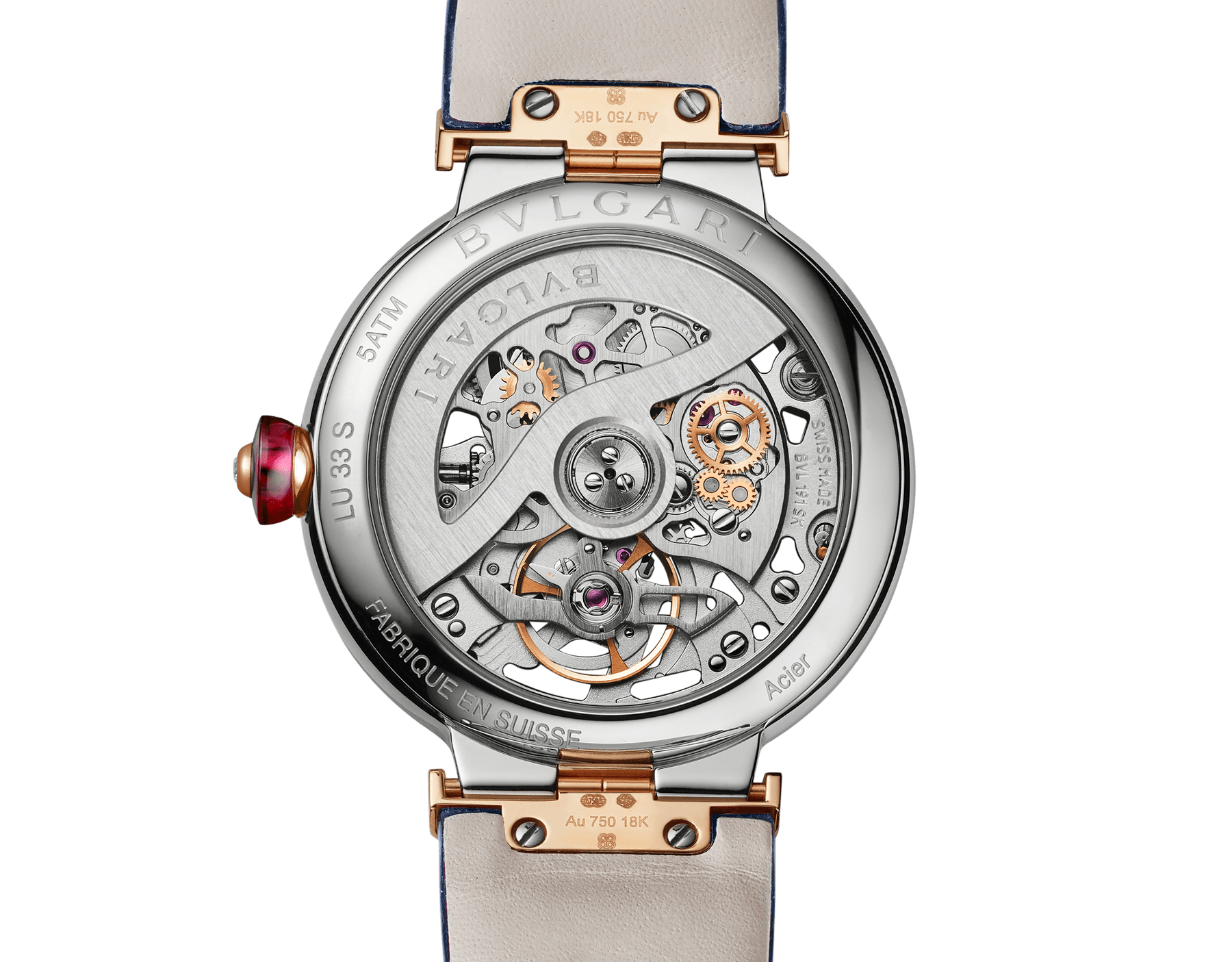 LVCEA Skeleton watch with mechanical manufacture movement, automatic winding and skeleton execution, polished stainless steel case, 18 kt rose gold bezel and links set with diamonds, blue lacquered openwork BVLGARI logo dial and blue alligator bracelet. Water-resistant up to 30 metres 103304 image 5