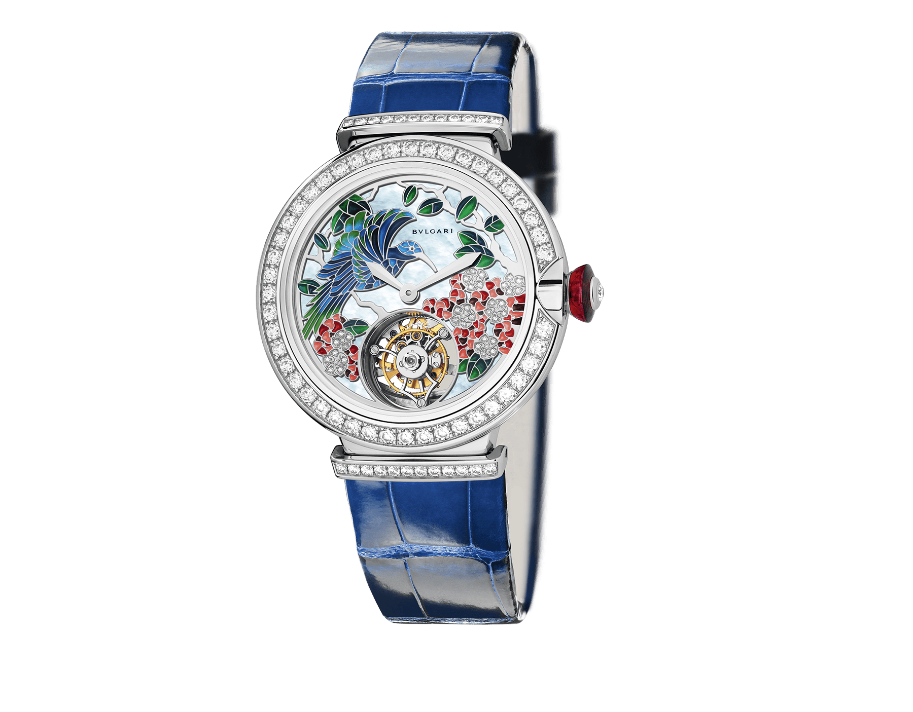LVCEA Tourbillon with mechanical manufacture movement, automatic winding, see-through tourbillon and sapphire bridge. 18 kt white gold case set with brilliant-cut diamonds, metiers d'art peinture miniature motifs dial set with diamonds and blue alligator bracelet. 102579 image 1