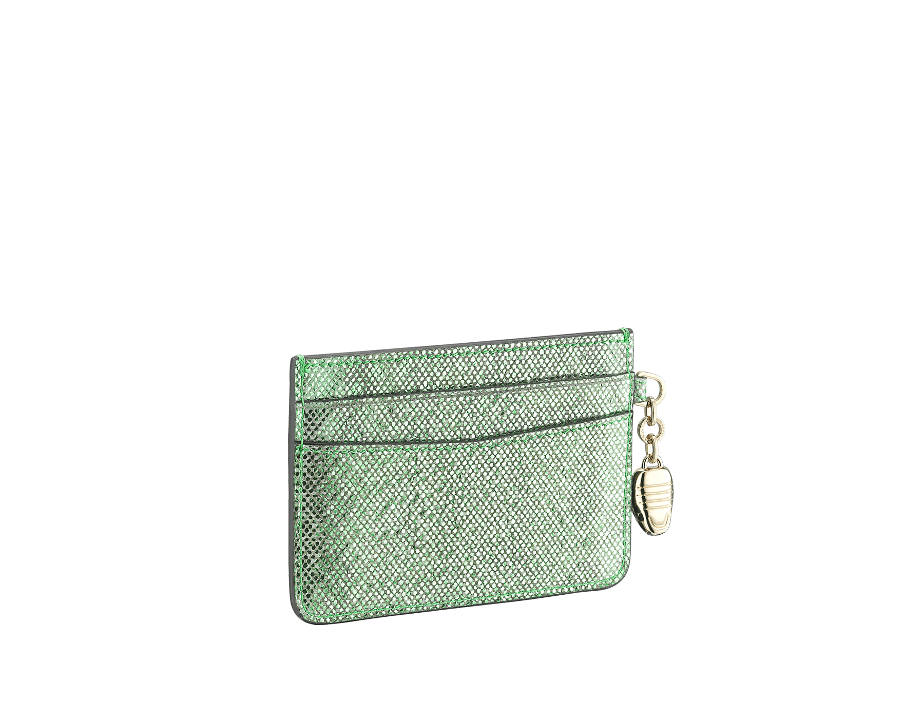 """""""Serpenti Forever"""" card holder in mint metallic karung skin. Iconic snakehead charm in black and white agate enamel, with black enamel eyes. SEA-CC-HOLDER-MK image 2"""