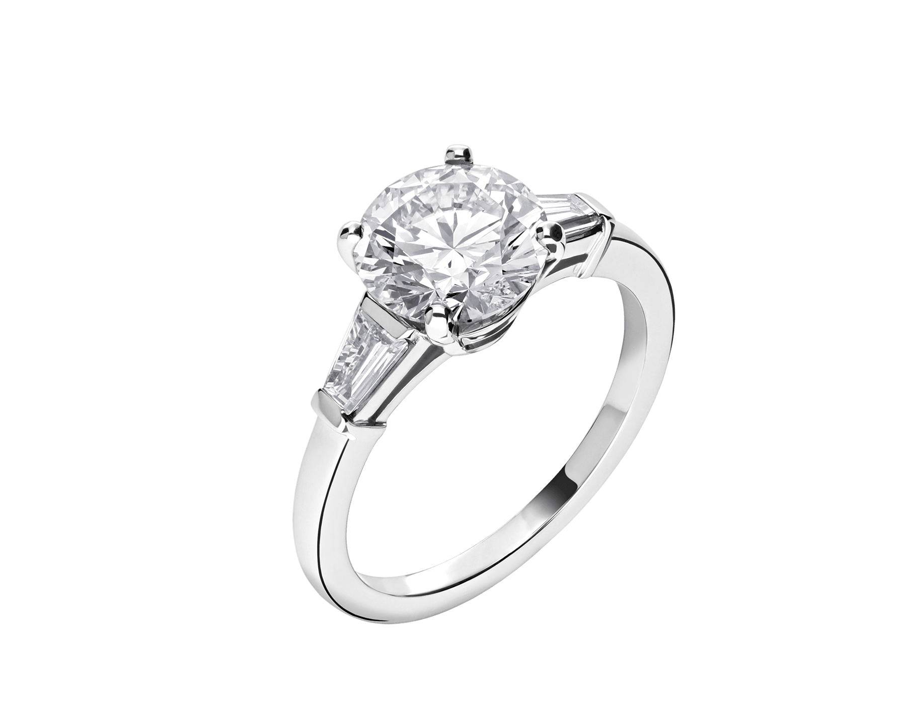 Griffe ring in platinum with round brilliant cut diamond and 2 side diamonds. Available from 1 ct. 331636 image 2