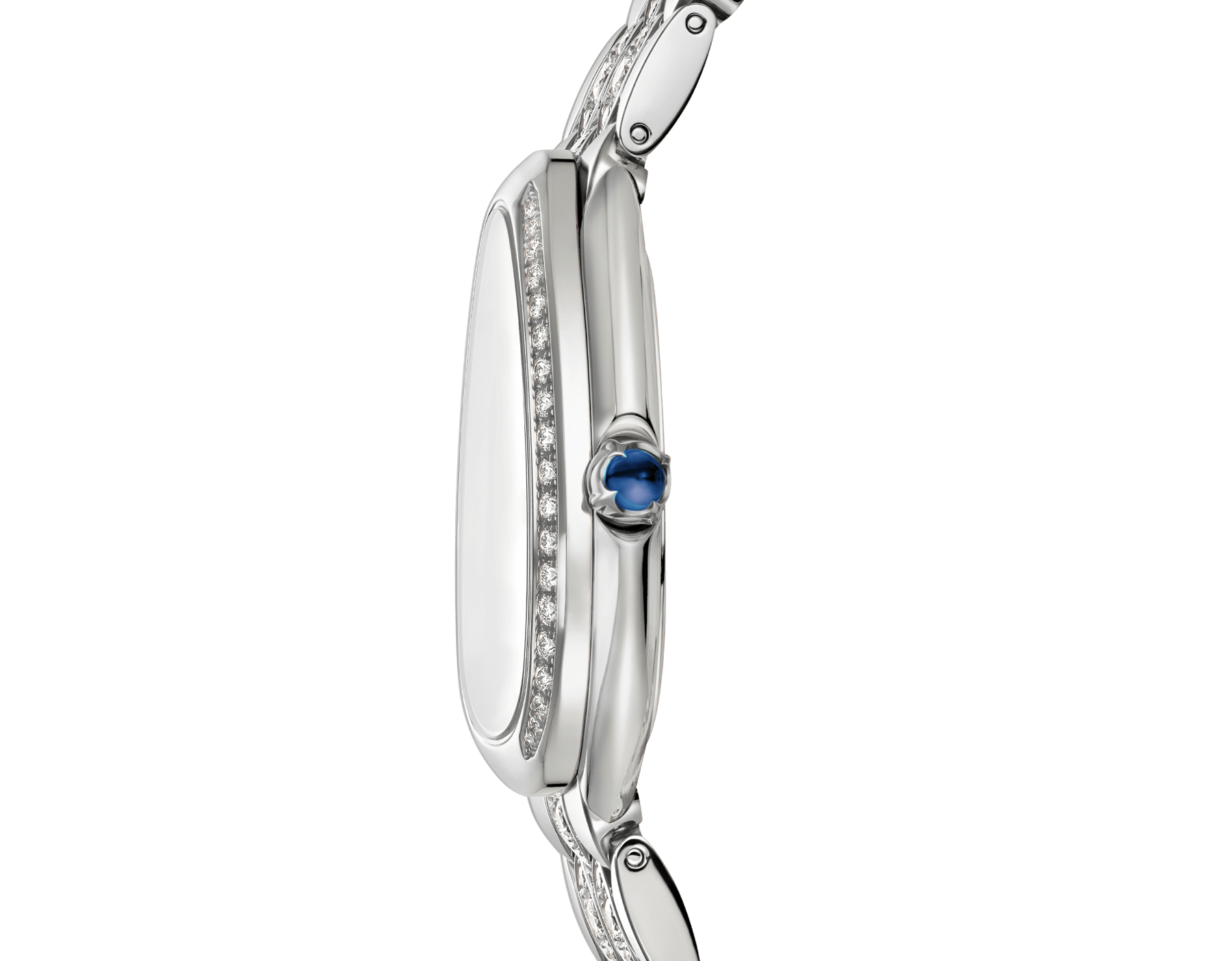 Serpenti Seduttori watch with 18 kt white gold case and bracelet both set with diamonds, and silver opaline dial 103276 image 3