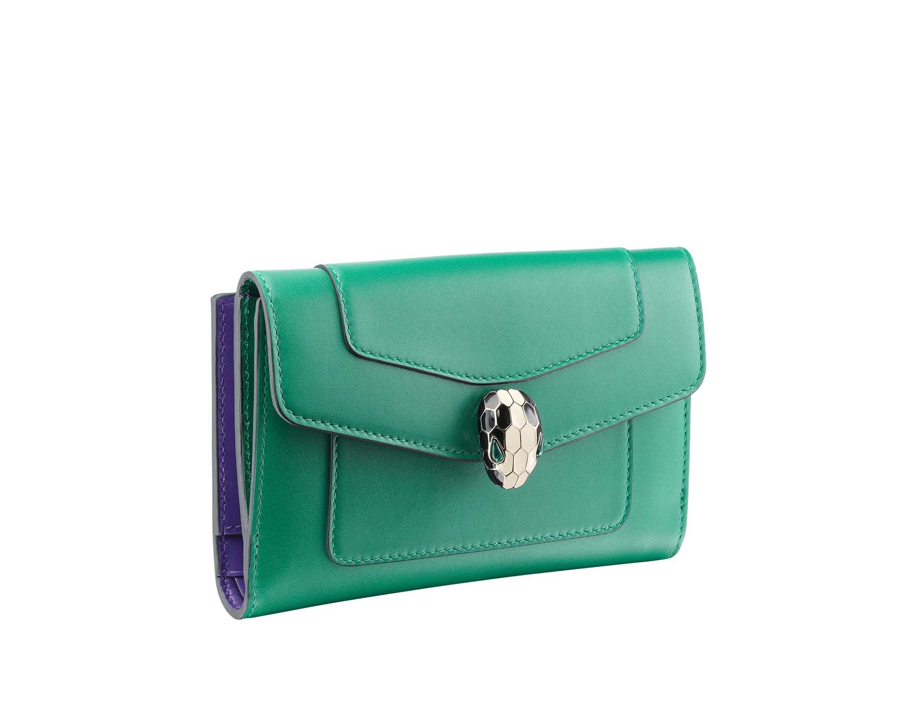 Compact pochette in emerald green calf leather, violet amethyst calf leather and amethyst purple nappa lining. Brass light gold plated Serpenti head stud closure with green malachite eyes. 282665 image 1
