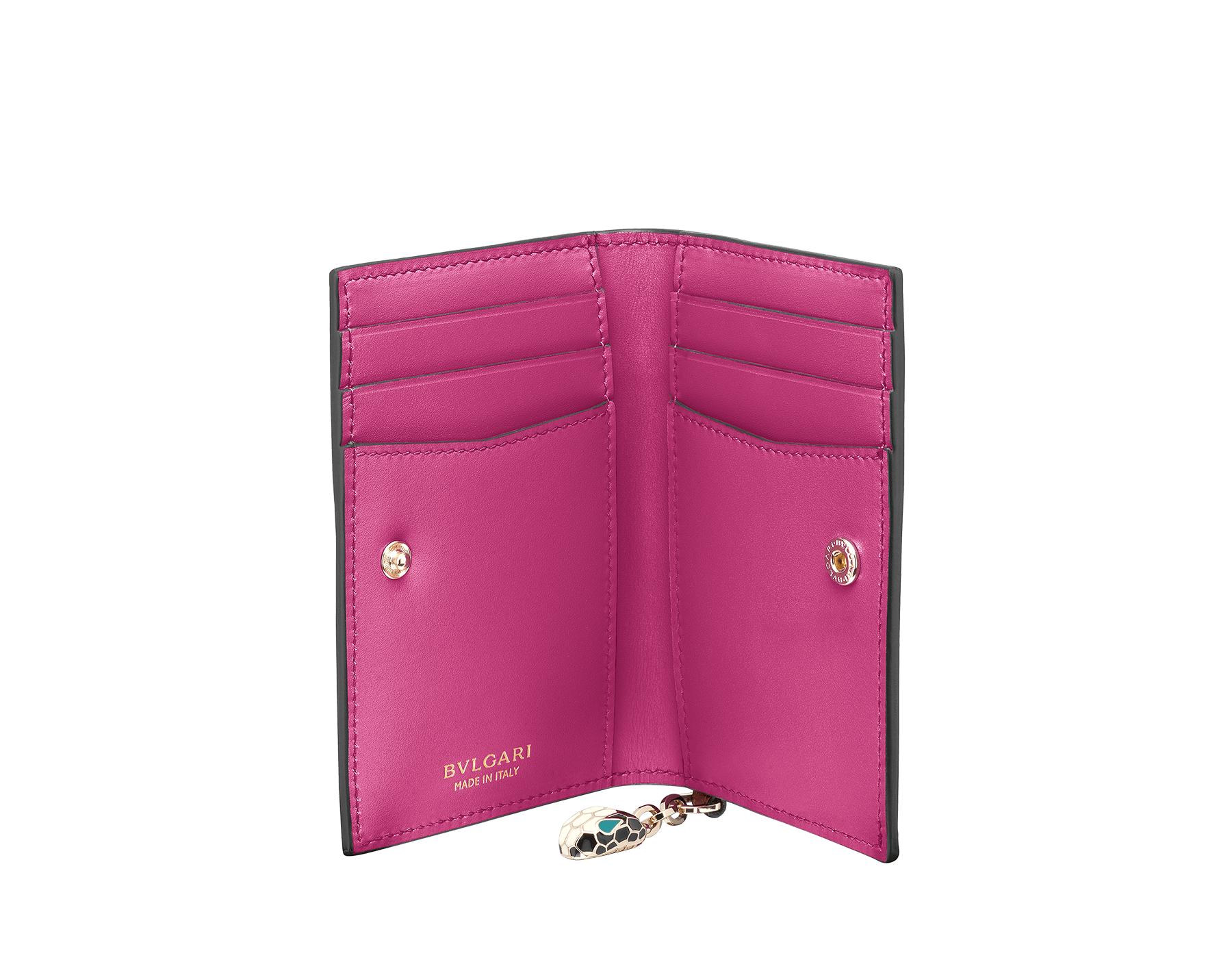 Serpenti Forever folded credit card holder in Roman garnet and pink spinel calf leather. Snakehead charm with black and white enamel, and green malachite enamel eyes. SEA-CC-HOLDER-FOLD-CLb image 2