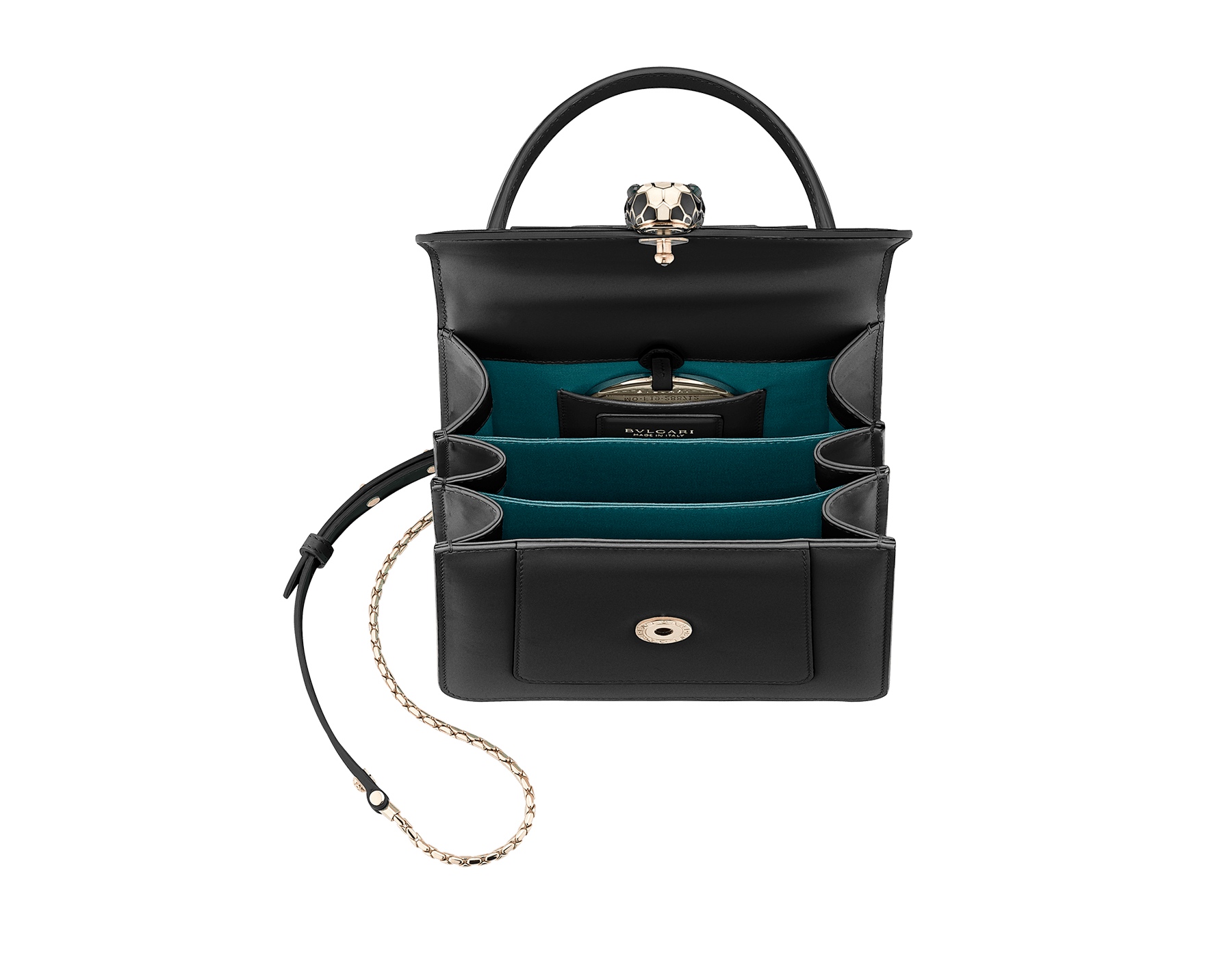 Flap cover bag Serpenti Forever in black calf leather and jade green gros-grain lining.Brass light gold plated hardware and snake head closure in black and white enamel with eyes in green malachite. 284537 image 5