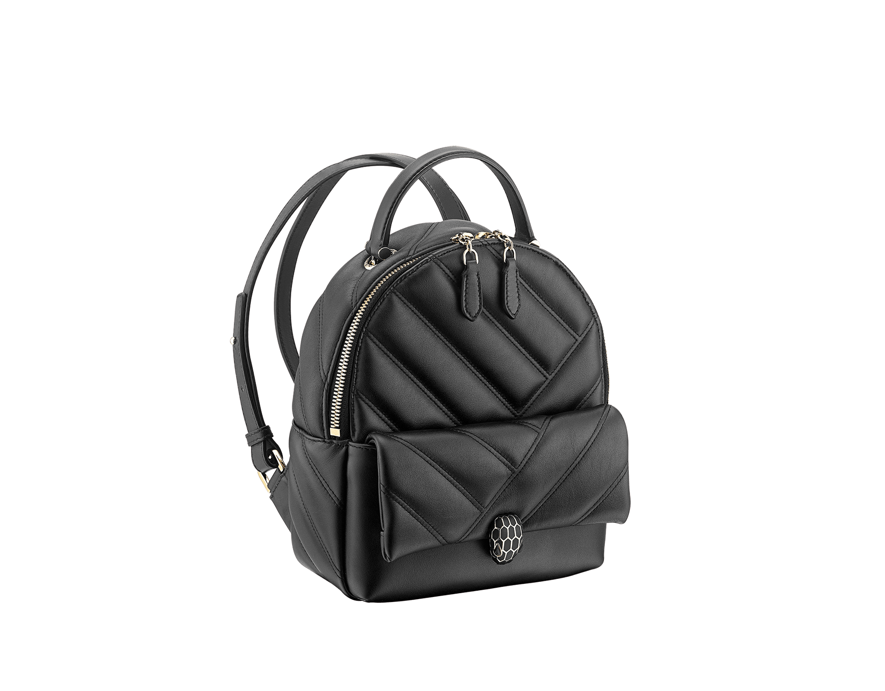 Serpenti Cabochon backpack in soft quilted white agate calf leather, with a graphic motif. Light gold plated brass tempting snakehead closure in black and white agate enamel and black onyx eyes. 1009-NSM image 2