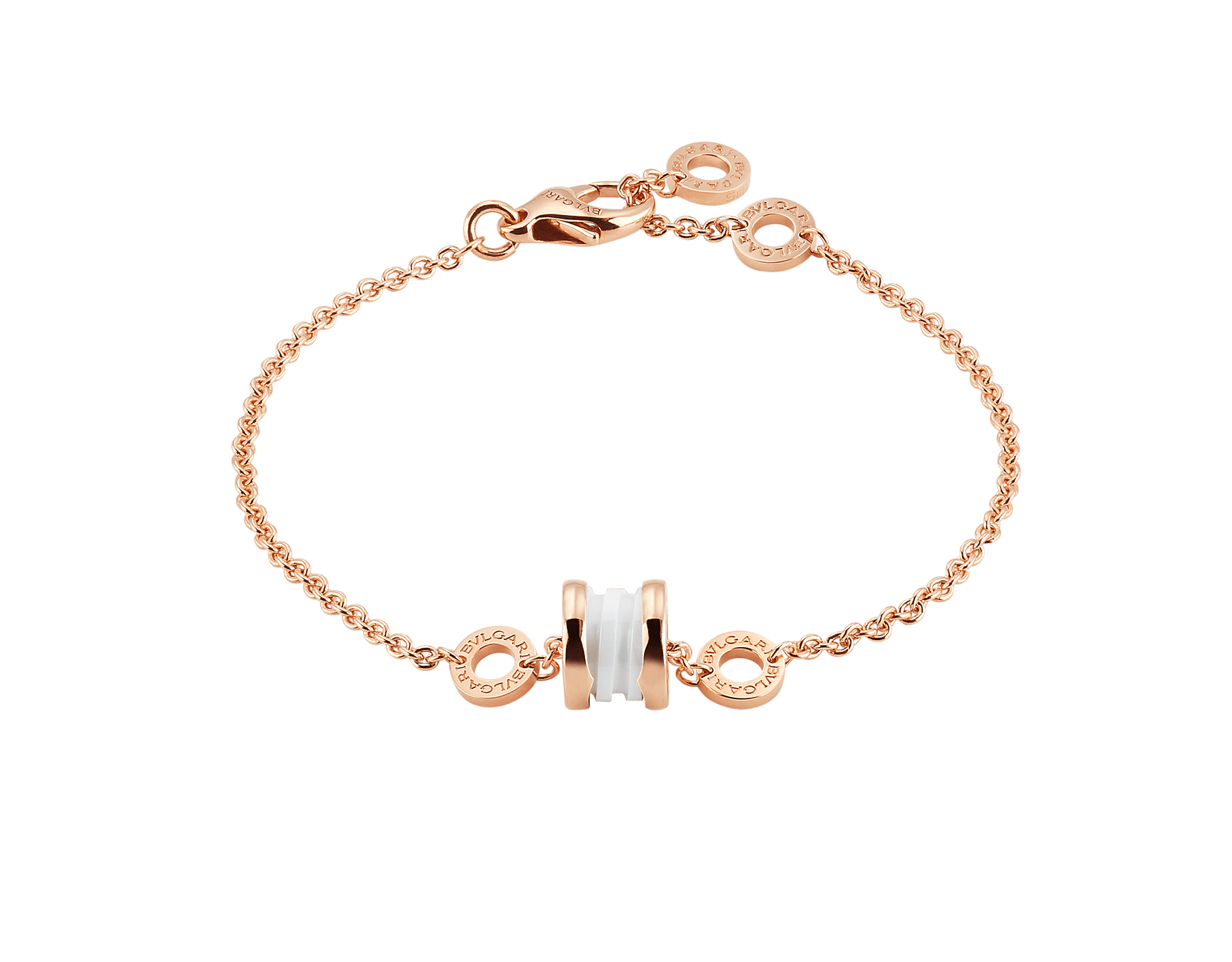 B.zero1 soft bracelet in 18 kt rose gold with 18 kt rose gold and white ceramic pendant. BR858158 image 1