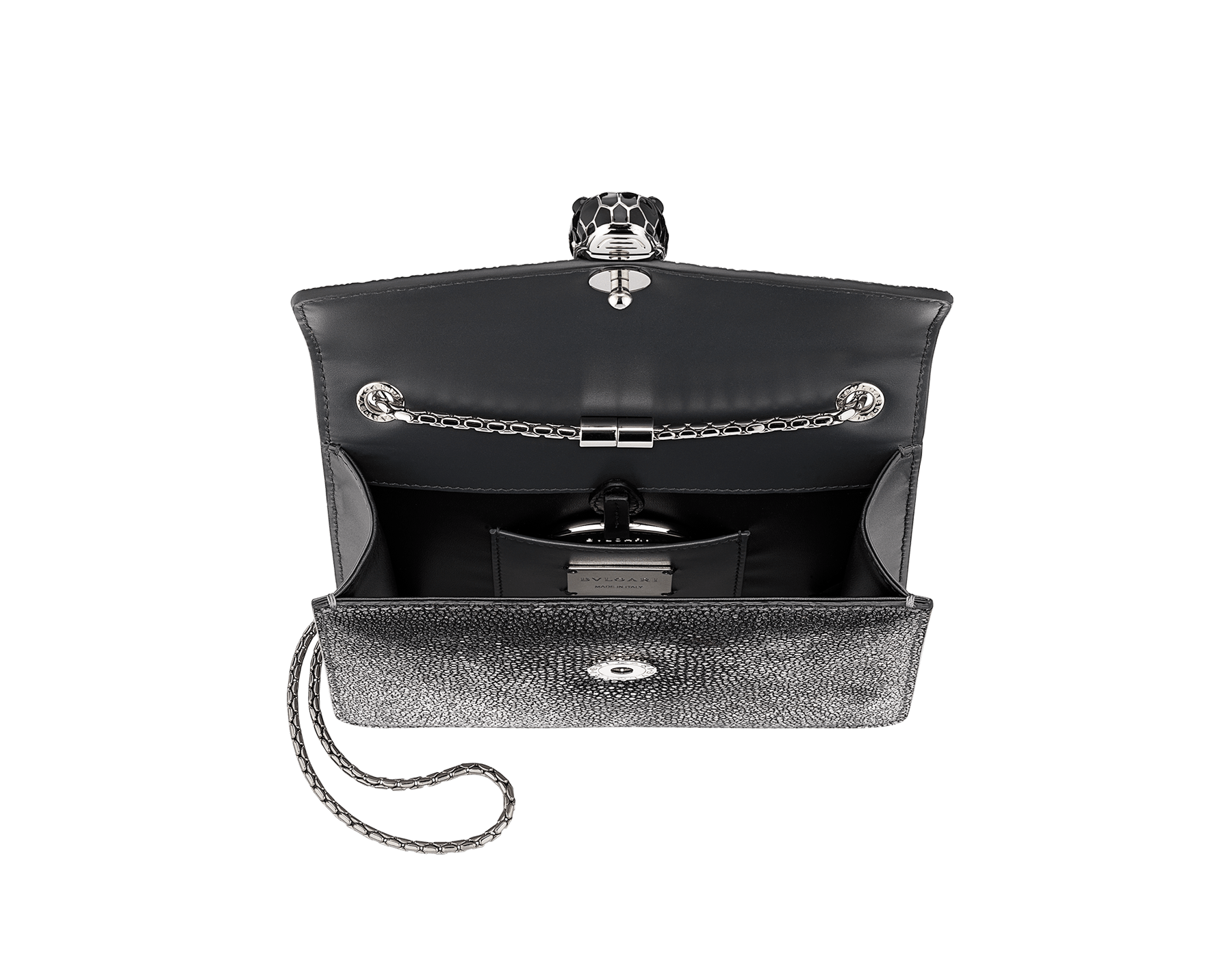 """Serpenti Forever"" crossbody bag in charcoal diamond crystal galuchat skin. Iconic snake head closure in palladium plated brass enriched with black enamel and black onyx eyes. 288995 image 4"