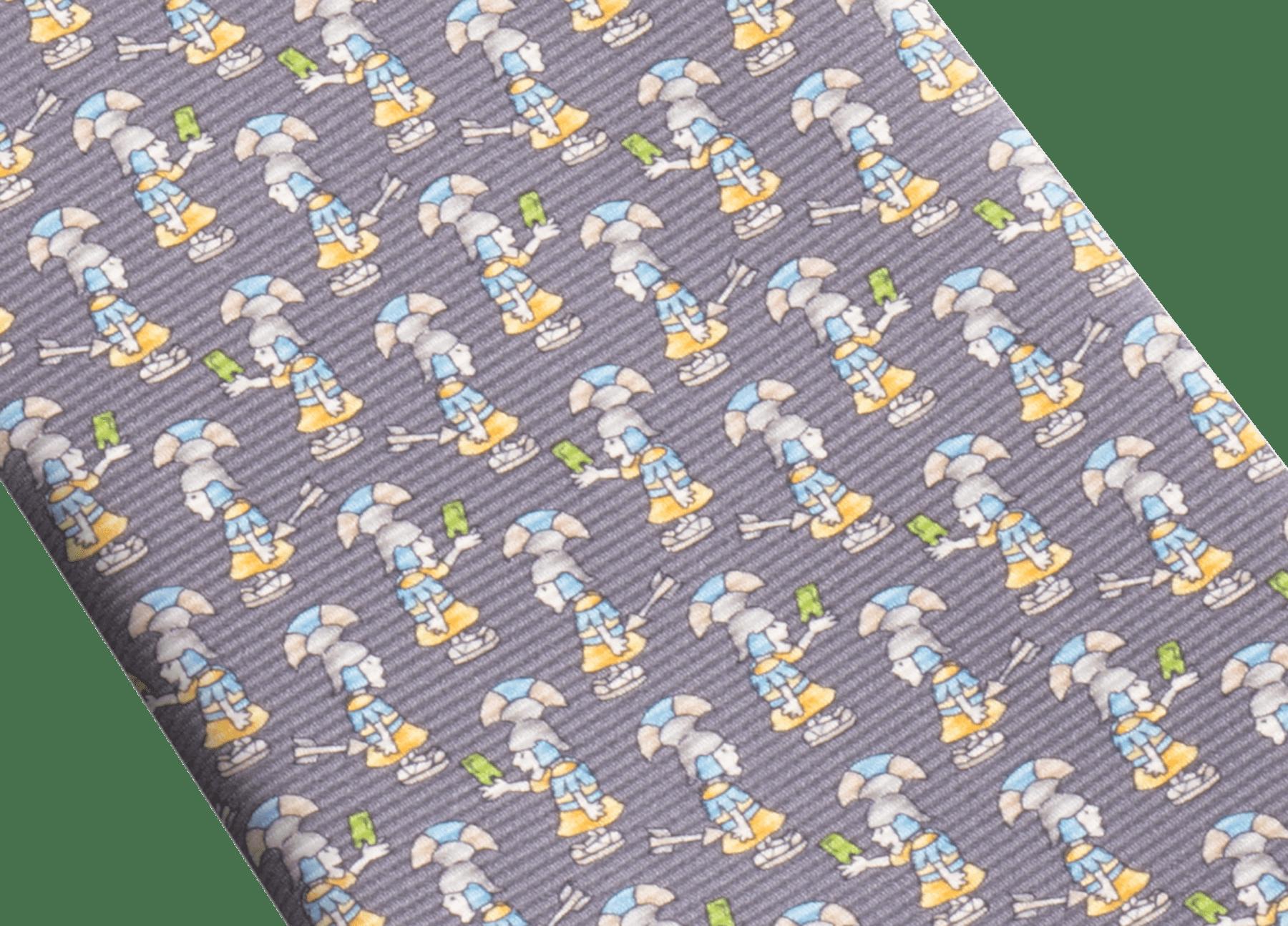 "Navy ""Roman Selfie"" seven-fold tie in fine saglione printed silk. ROMANSELFIE image 2"