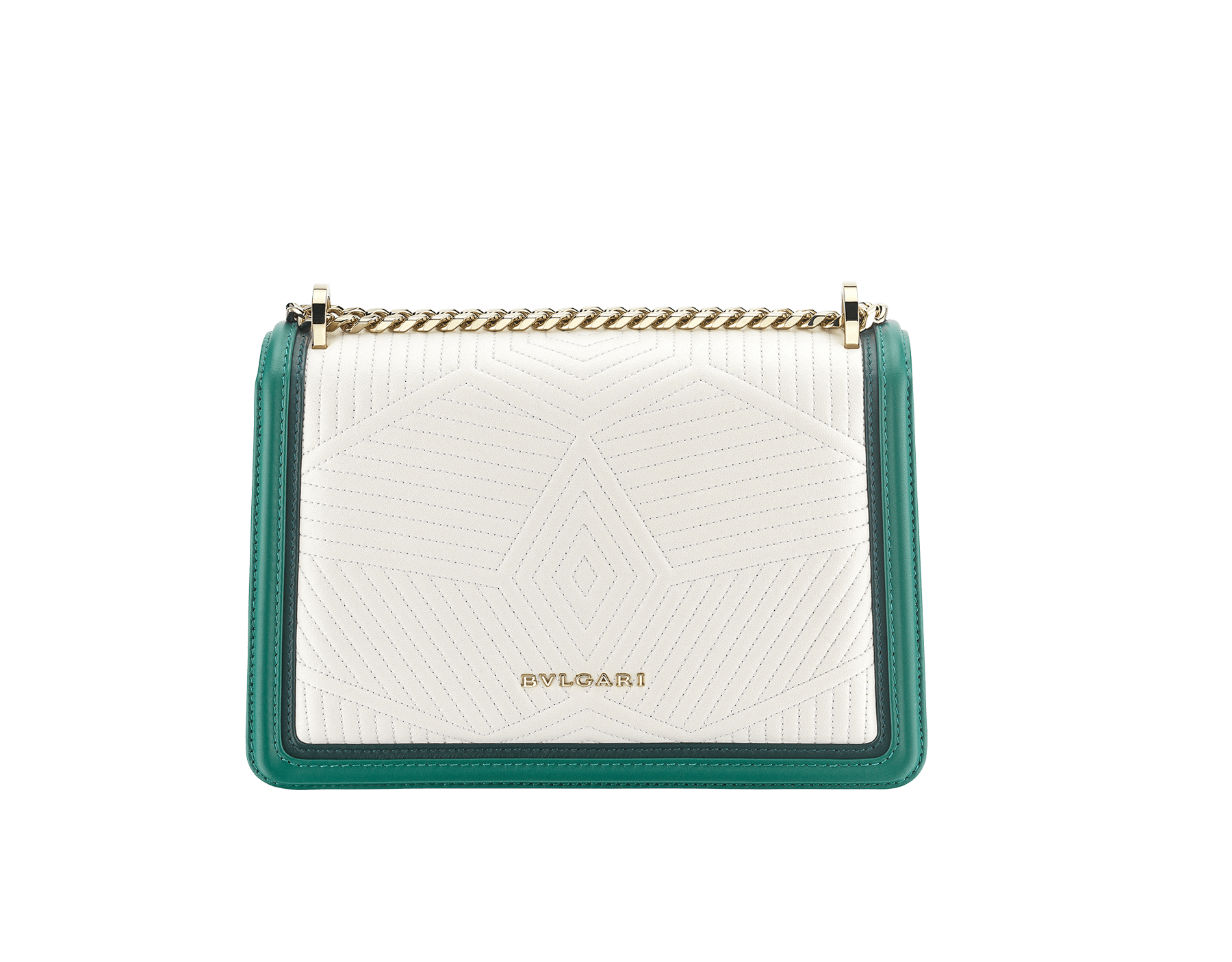 """Serpenti Diamond Blast"" shoulder bag in mimetic jade quilted nappa leather and mimetic jade smooth calf leather frames. Iconic snakehead closure in light gold plated brass enriched with matte black and shiny mimetic jade enamel and black onyx eyes. 922-FQDf image 3"