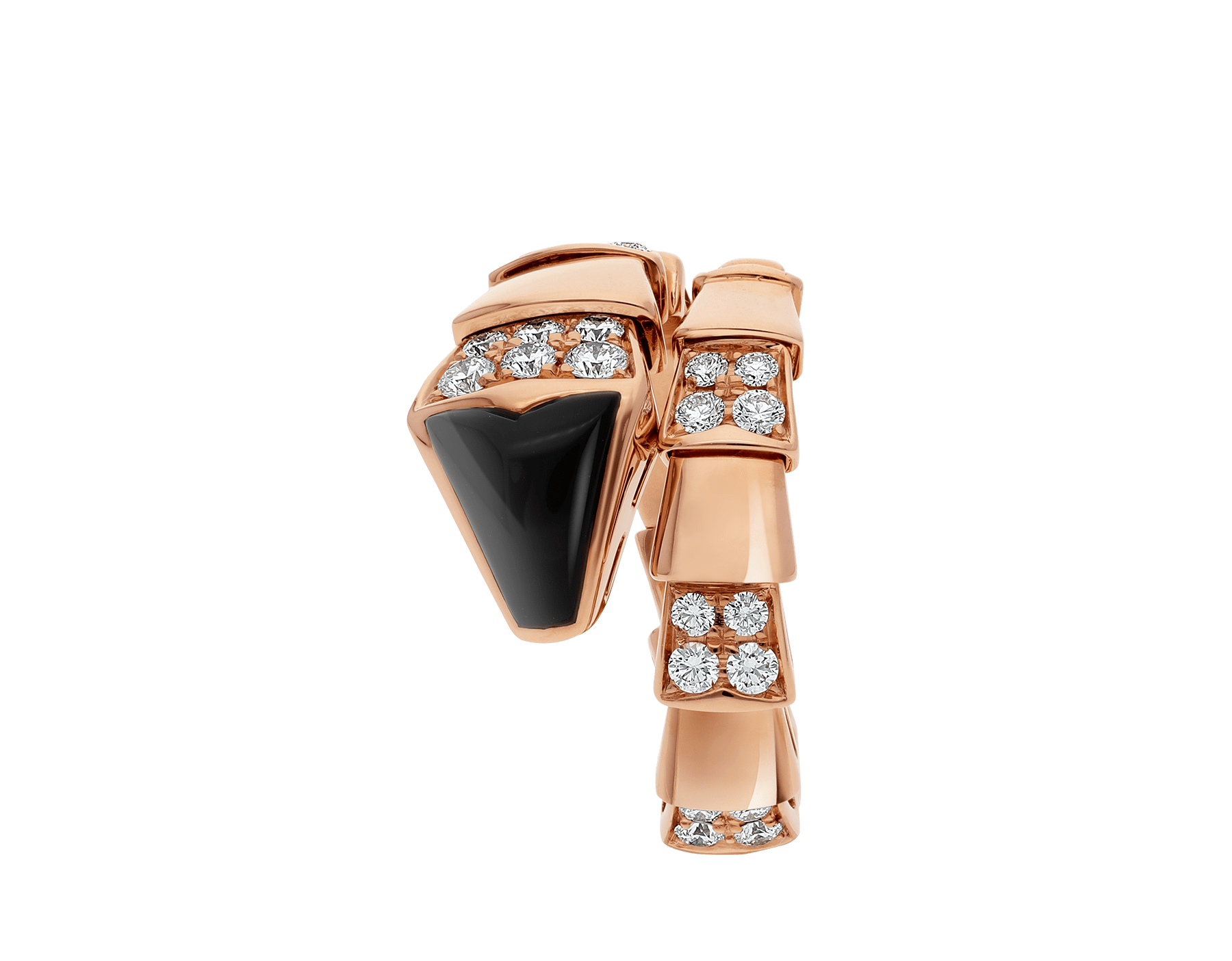 Serpenti one-coil ring in 18 kt rose gold, set with black onyx elements and demi pavé diamonds. AN855315 image 2