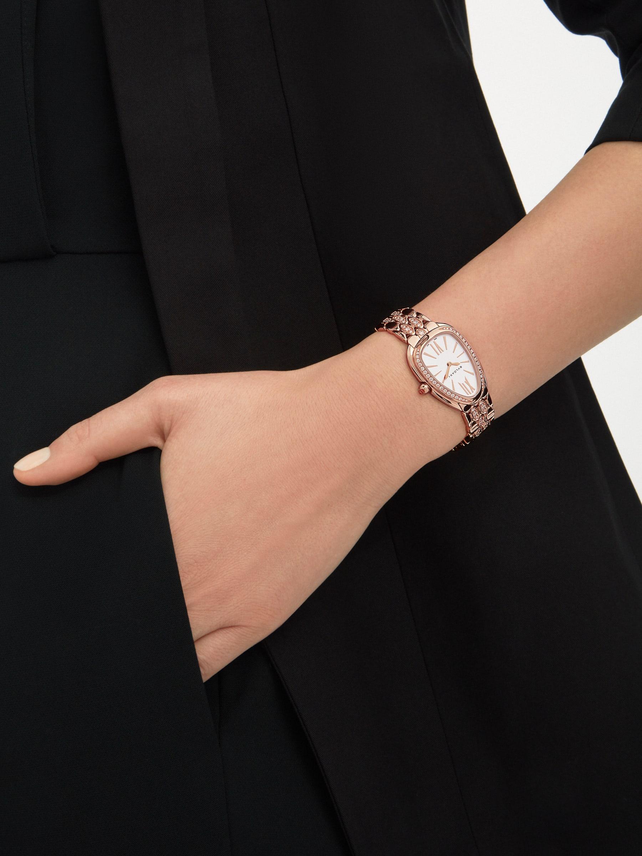 Montre SerpentiSeduttori avec boîtier et bracelet en or rose 18K sertis de diamants et cadran blanc 103275 image 4