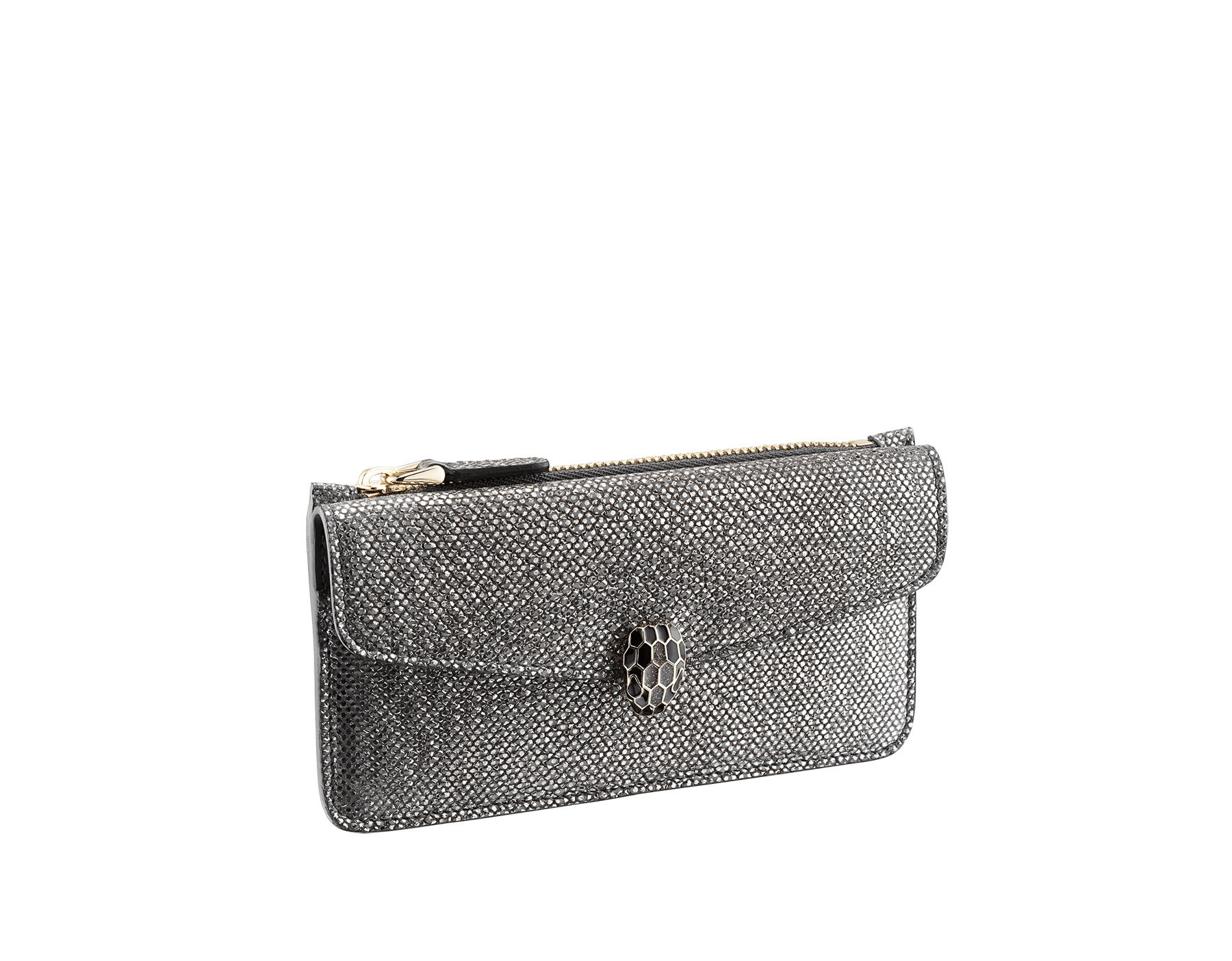 """""""Serpenti Forever"""" card holder in Charcoal Diamond grey metallic karung skin and Charcoal Diamond grey calf leather. Light gold plated brass iconic snakehead stud closure enameled in black and glitter Hawk's Eye grey, with black enamel eyes. 290146 image 1"""