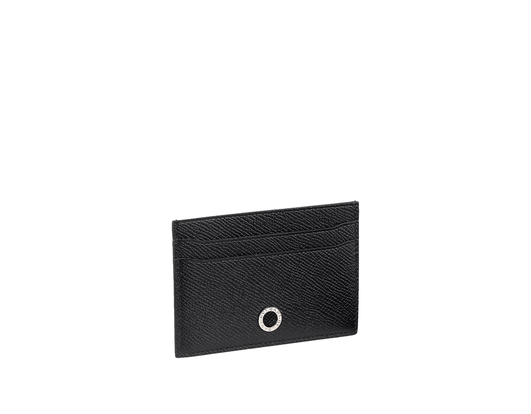 Black grain leather credit card holder with brass palladium plated BVLGARI∙BVLGARI motif. Four credit card slots and one middle pocket. Also available in other colours in-store. 10.5 x 7.5 cm. - 4.1 x 3.0 BBM-CC-HOLDER-gcl image 1
