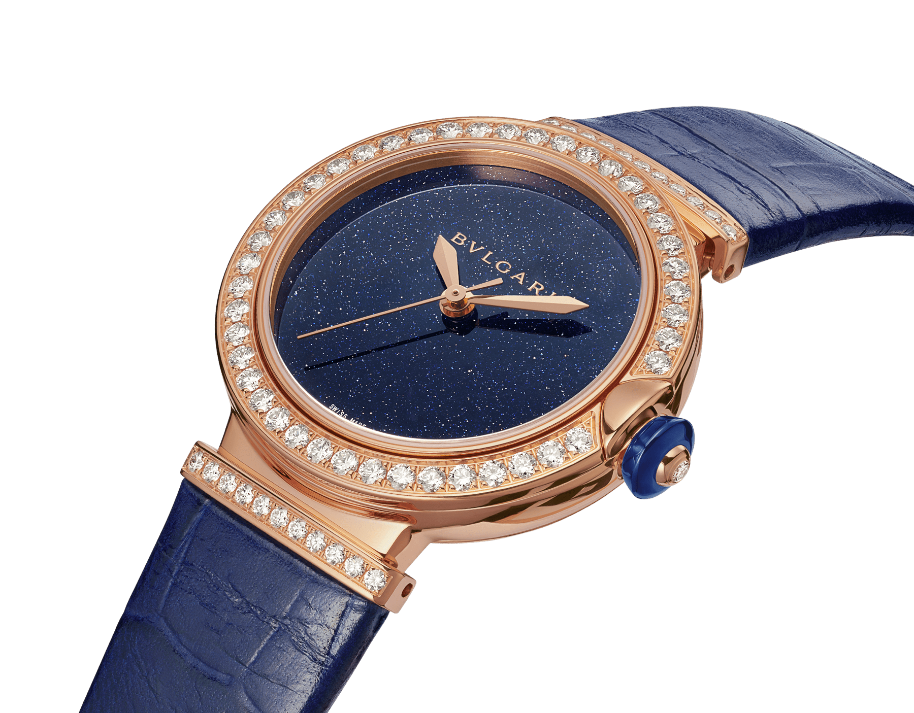 LVCEA watch with mechanical movement and automatic winding, polished 18 kt rose gold case and links both set with round brilliant-cut diamonds, blue aventurine dial and blue alligator bracelet. Water-resistant up to 30 metres. 103341 image 2