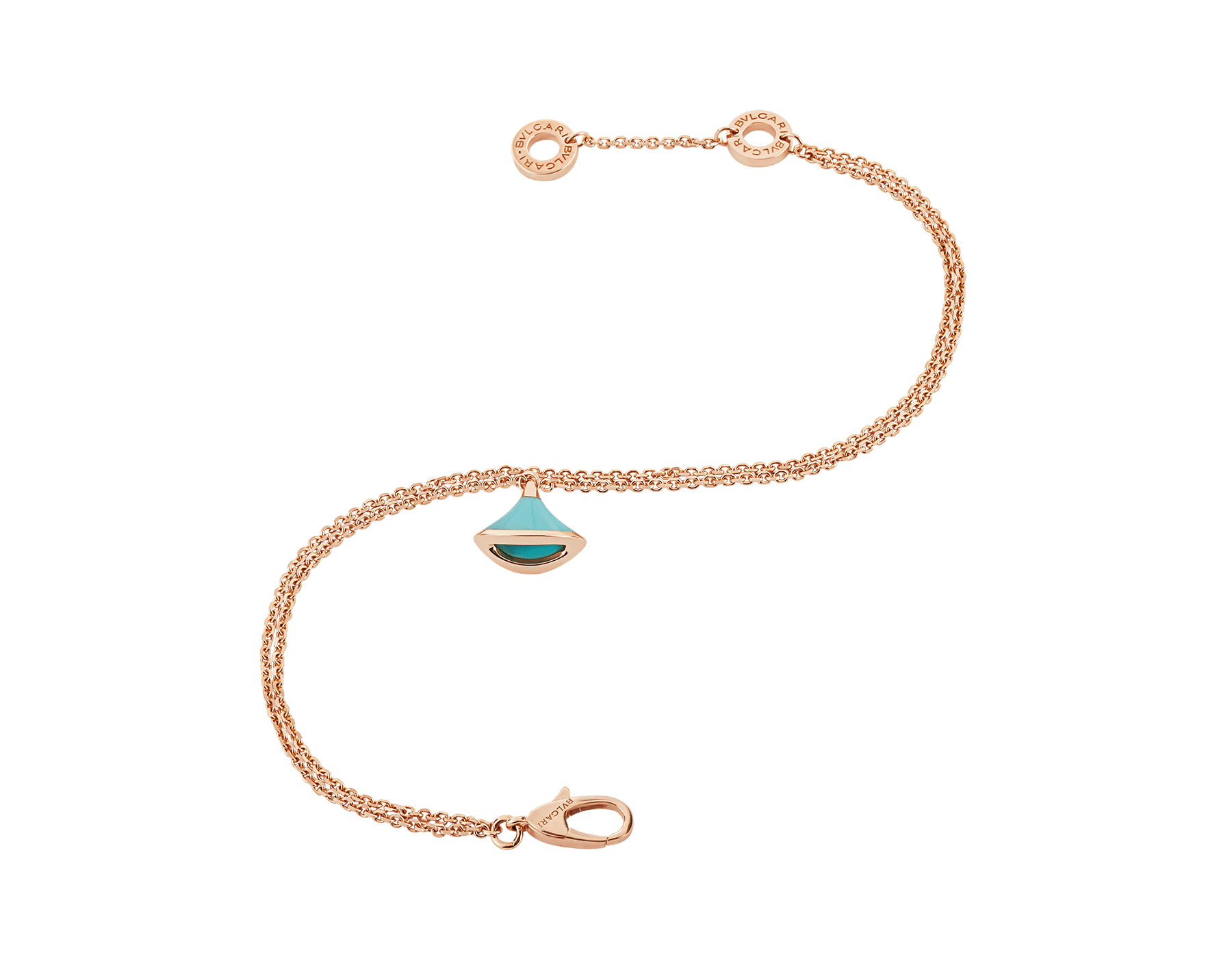 DIVAS' DREAM bracelet in 18 kt rose gold with pendant set with torquoise. BR857195 image 2