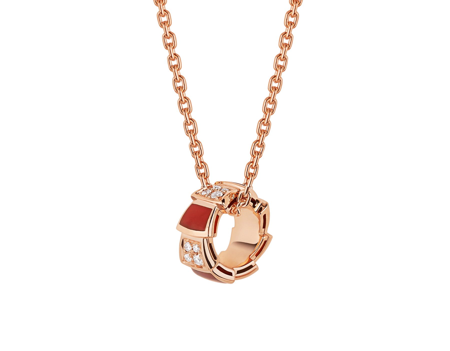 Serpenti Viper necklace with 18 kt rose gold chain and 18 kt rose gold pendant set with carnelian elements and demi pavé diamonds. 355088 image 1