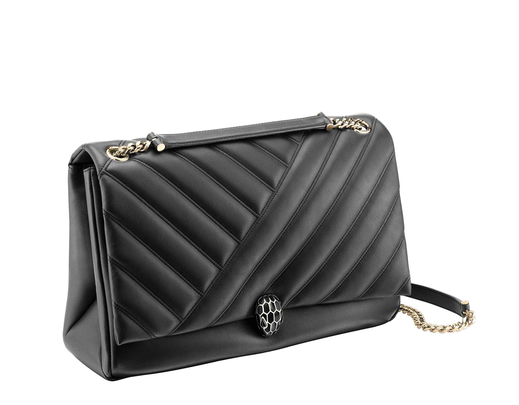 Serpenti Cabochon shoulder bag in soft matelassé black nappa leather with graphic motif and black calf leather. Snakehead closure in rose gold plated brass decorated with matte black and shiny black enamel, and black onyx eyes. 982-NSM image 2