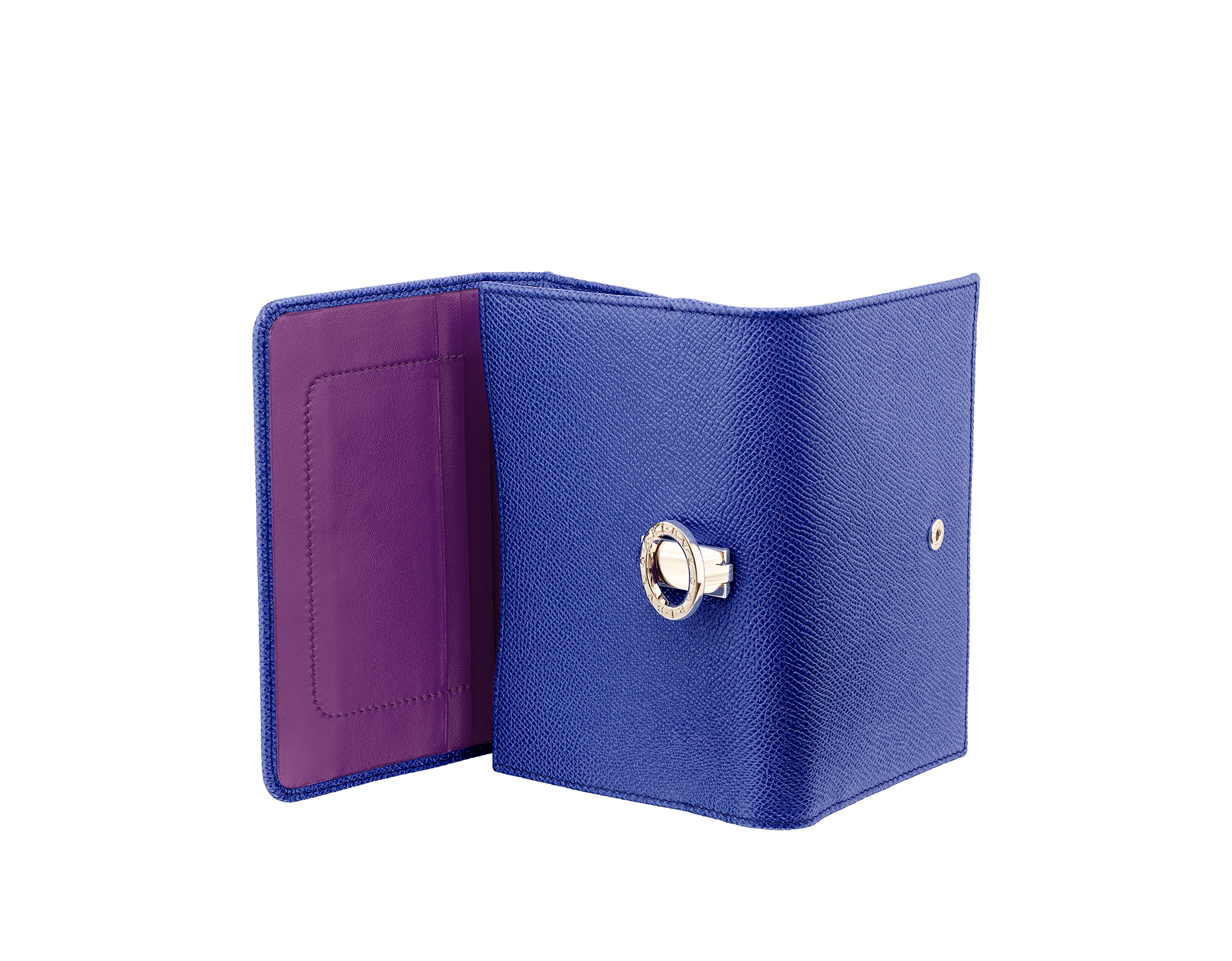 BVLGARI BVLGARI compact pochette in cobalt tourmaline grain calf leather and aster amethyst nappa leather. Iconic logo closure clip in light gold plated brass 287604 image 3