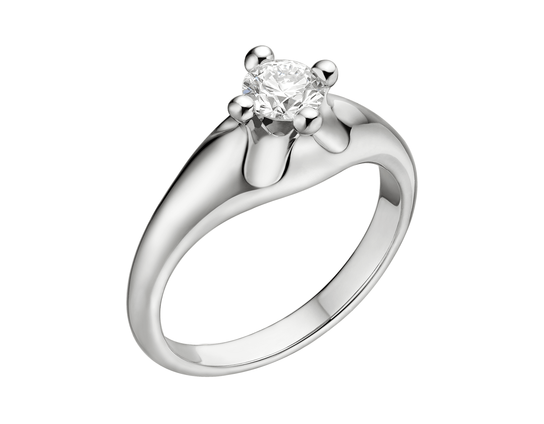 Corona solitaire ring in platinum with round brilliant cut diamond. Available from 0.30 ct. Inspired by the crown and the flower, two enduring symbols of glory and celebration since ancient times. 327918 image 1