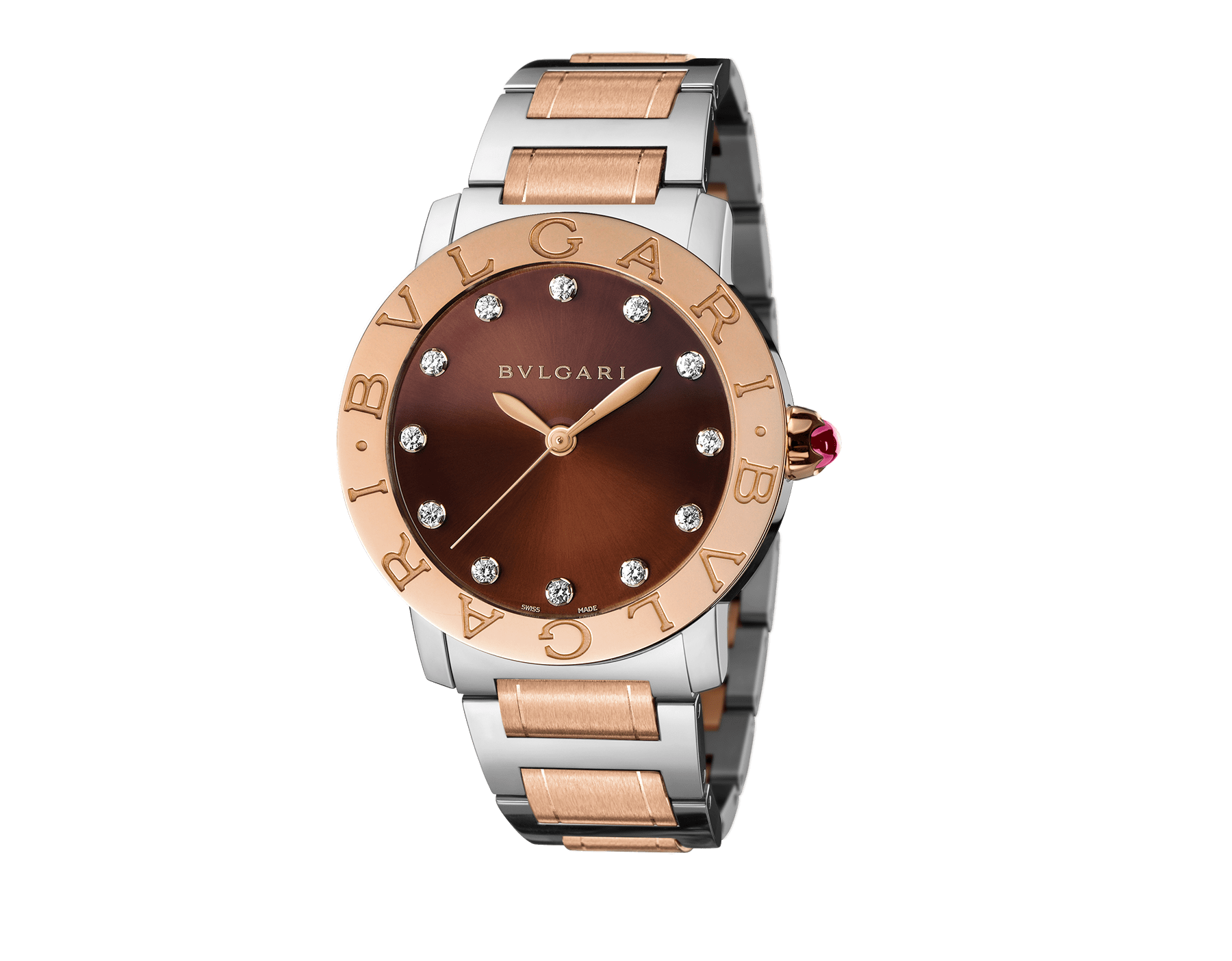 BVLGARI BVLGARI watch in stainless steel and 18 kt rose gold case and bracelet, with brown soleil lacquered dial and diamond indexes. Large model 102159 image 1