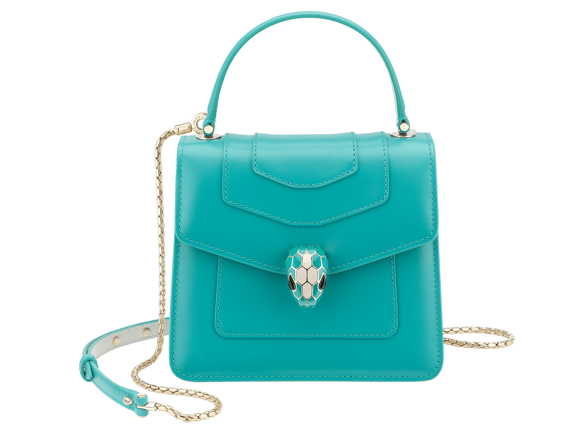 """Serpenti Forever "" crossbody bag in arctic jade calf leather body and glacier turquoise and white agate calf leather sides. Iconic snakehead closure in light gold plated brass enriched with arctic jade and white agate enamel and black onyx eyes. 288772 image 1"