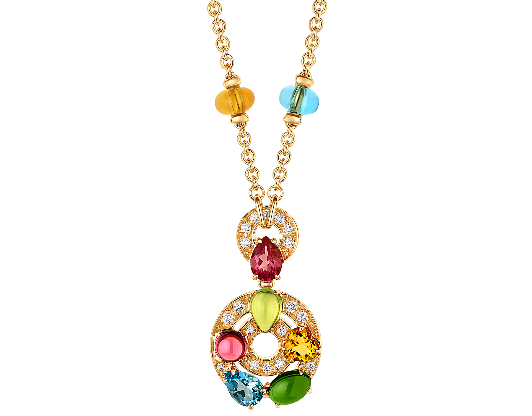 Cerchi 18 kt yellow gold large pendant necklace set with blue topazes, amethysts, green tourmalines, peridots, citrine quartz, rhodolite garnets and pavé diamonds 339139 image 1
