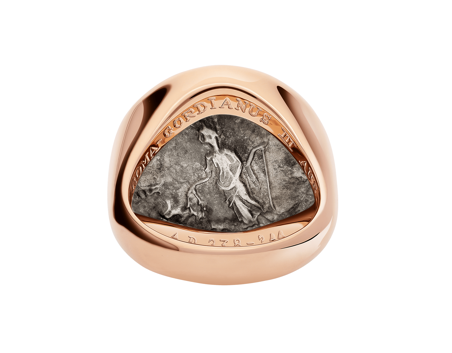Monete 18 kt rose gold ring set with antique bronze or silver coin AN856864 image 4